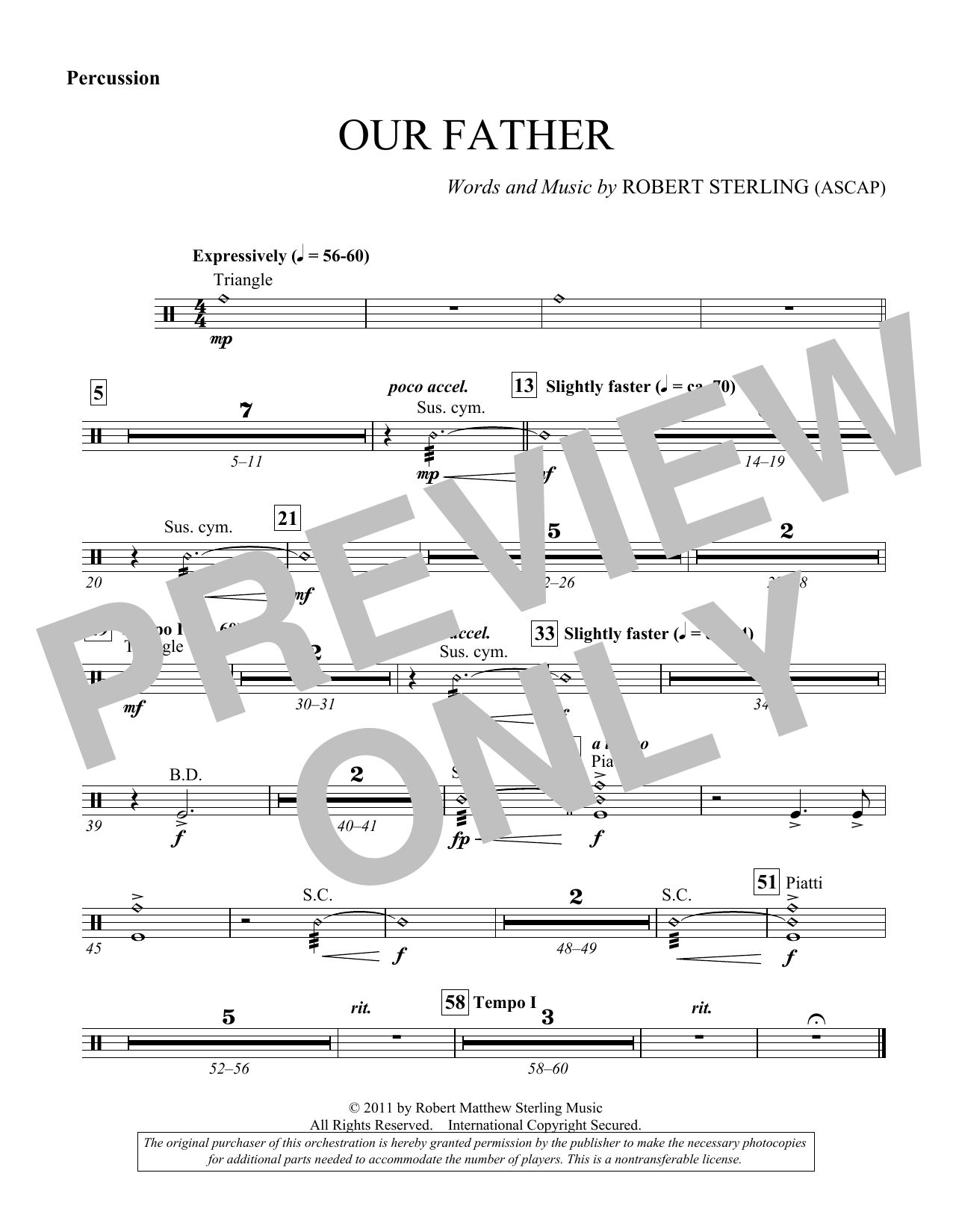 Our Father - Percussion (Choir Instrumental Pak)