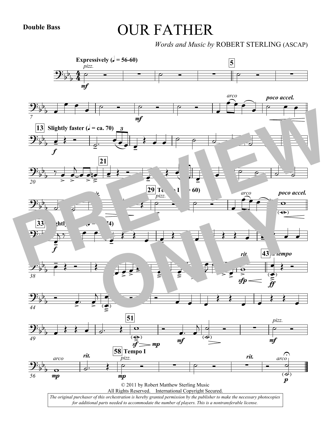 Our Father - Double Bass (Choir Instrumental Pak)