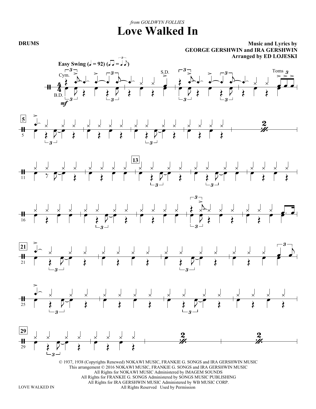 Love Walked In - Drums Sheet Music