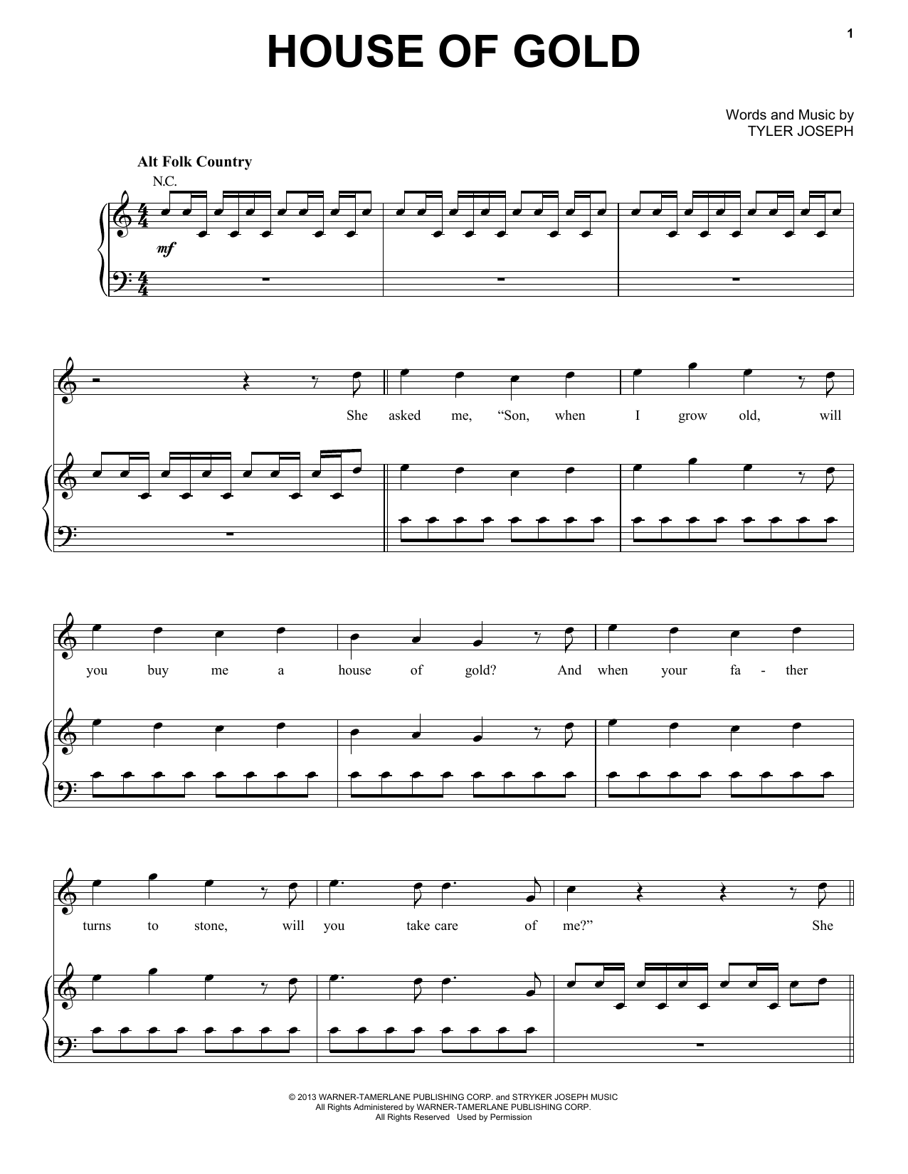 Twenty one pilots house of gold sheet music for Best piano house tracks