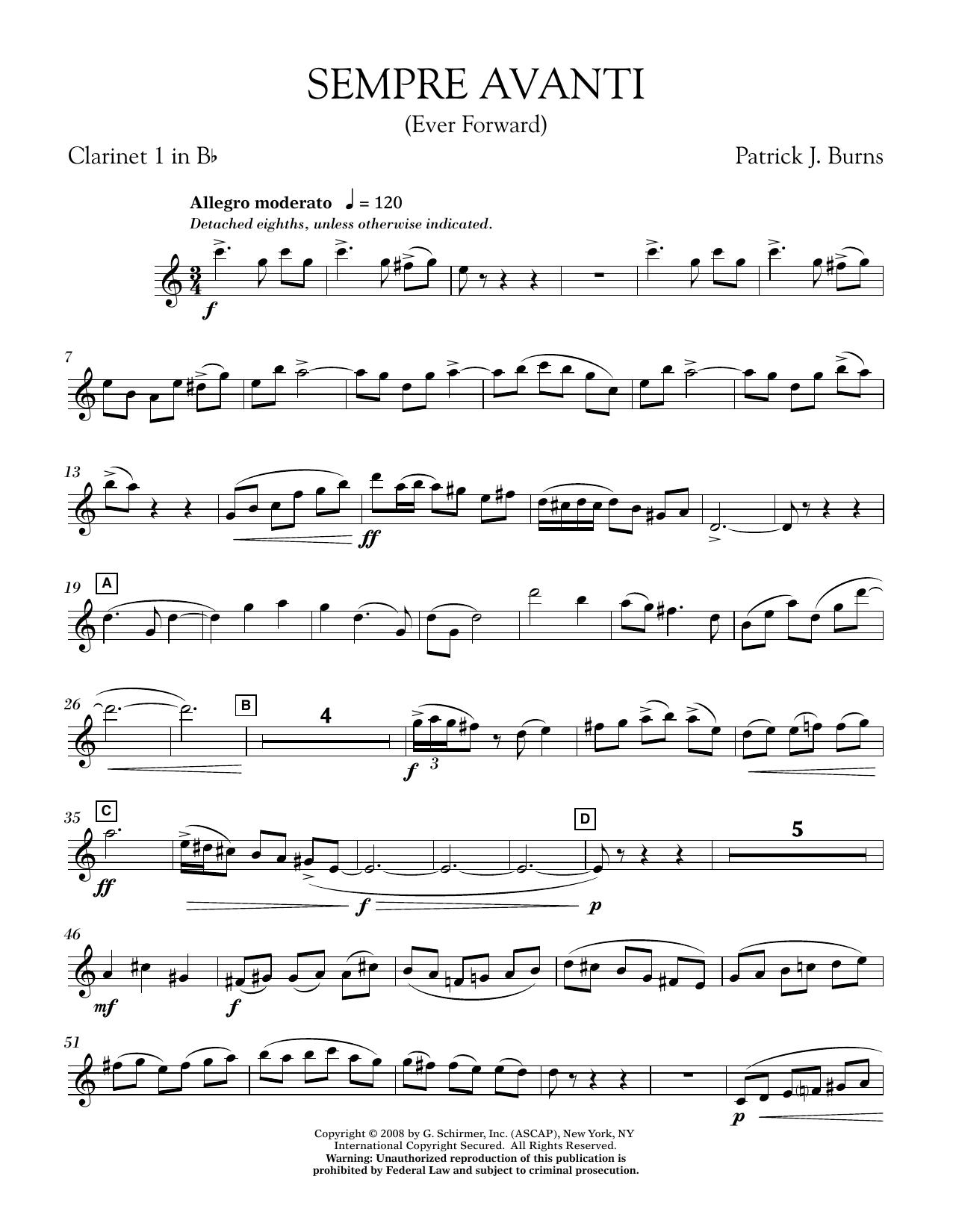 Sempre Avanti - Bb Clarinet 1 (Concert Band)