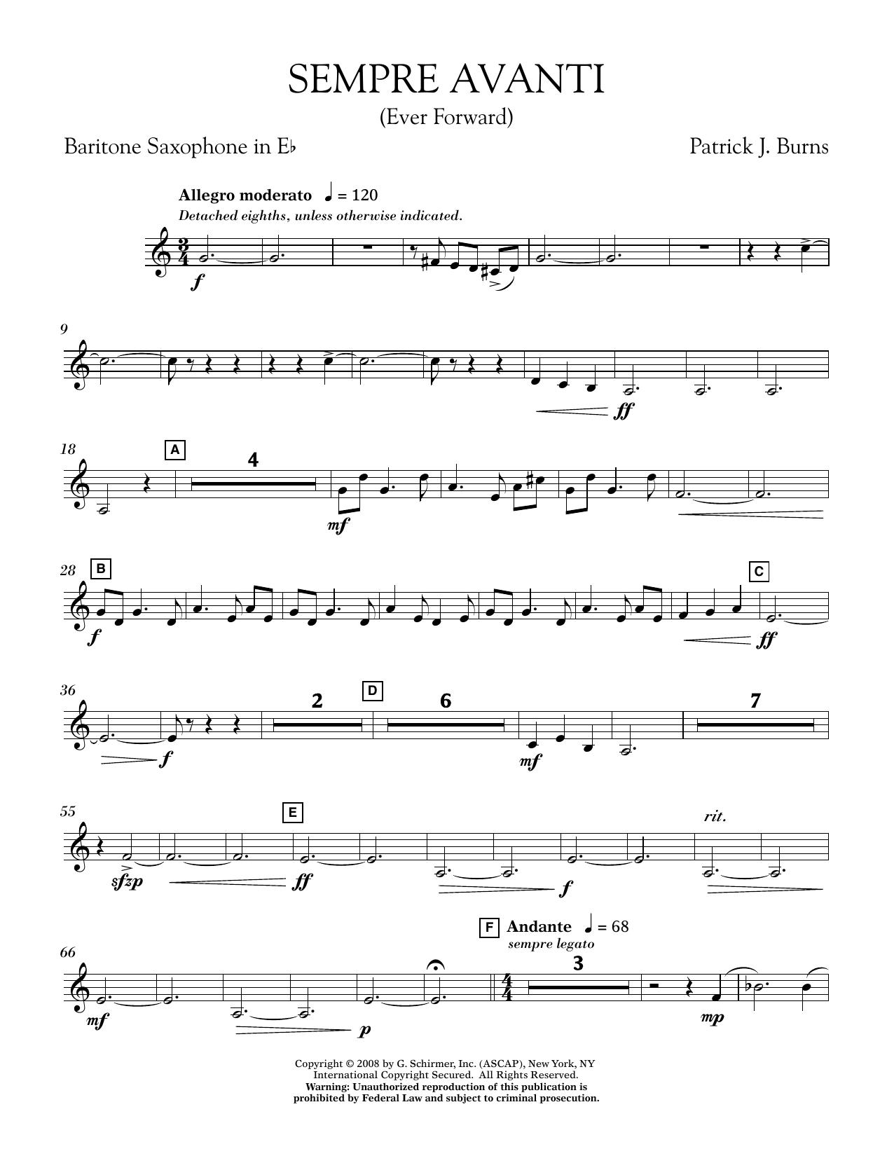 Sempre Avanti - Eb Baritone Saxophone (Concert Band)
