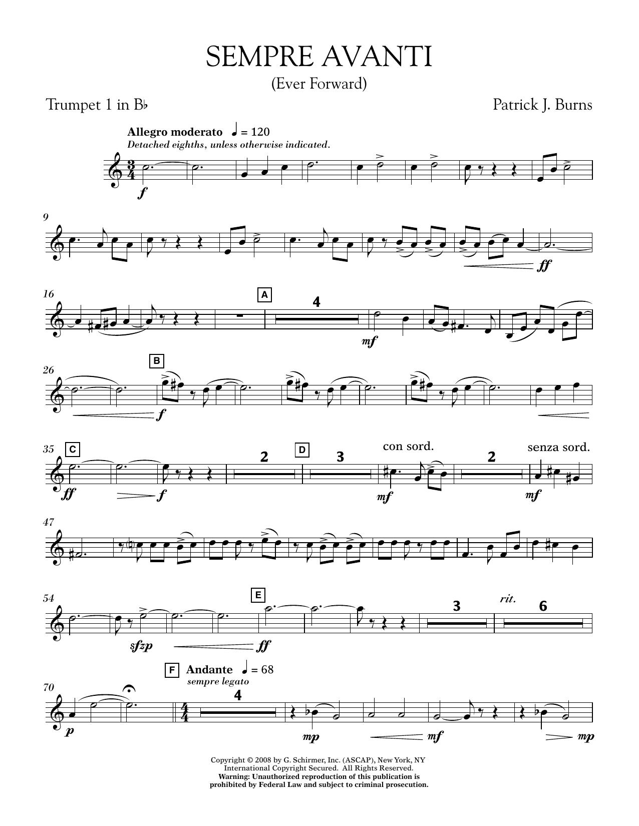 Sempre Avanti - Bb Trumpet 1 (Concert Band)