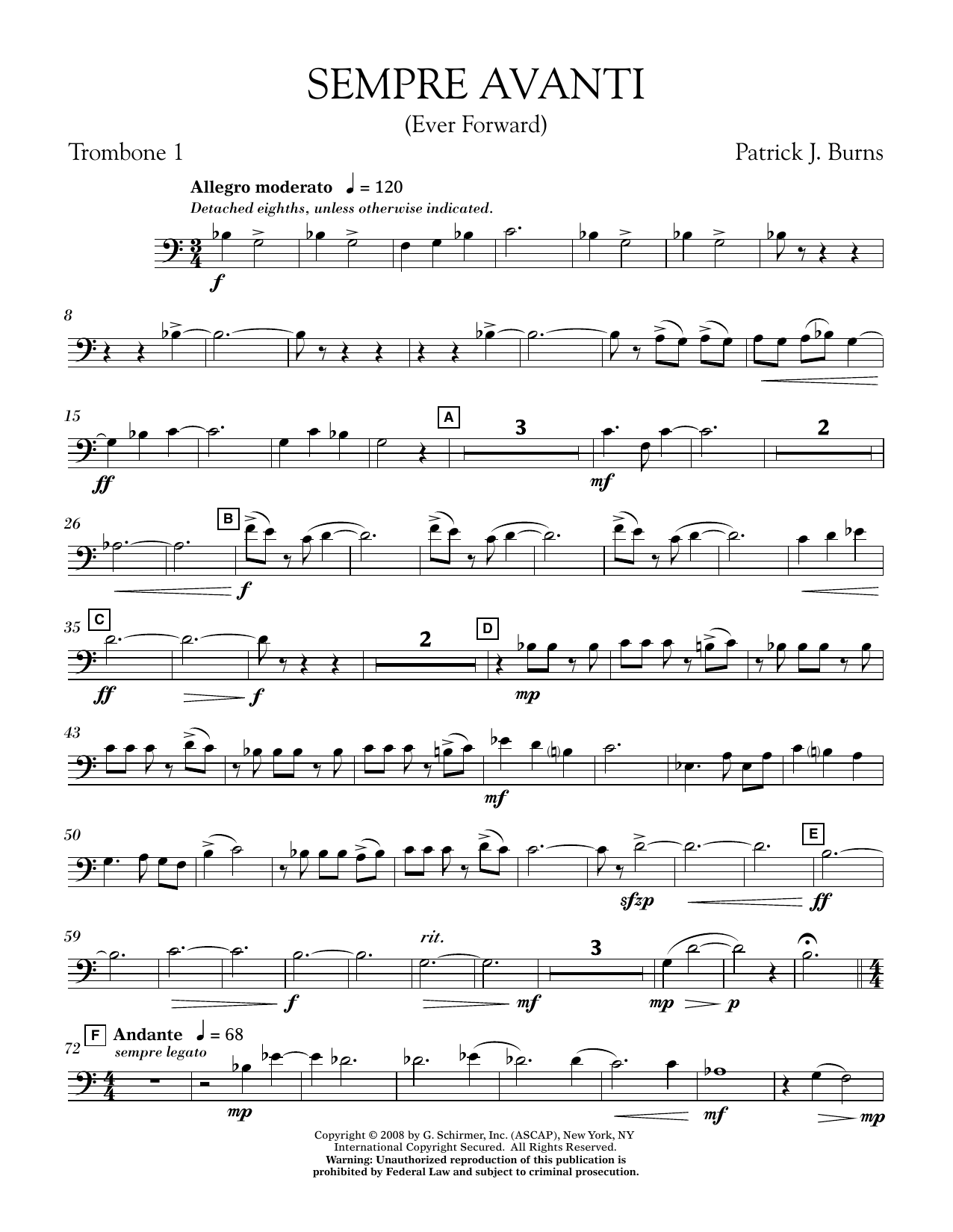 Sempre Avanti - Trombone 1 (Concert Band)