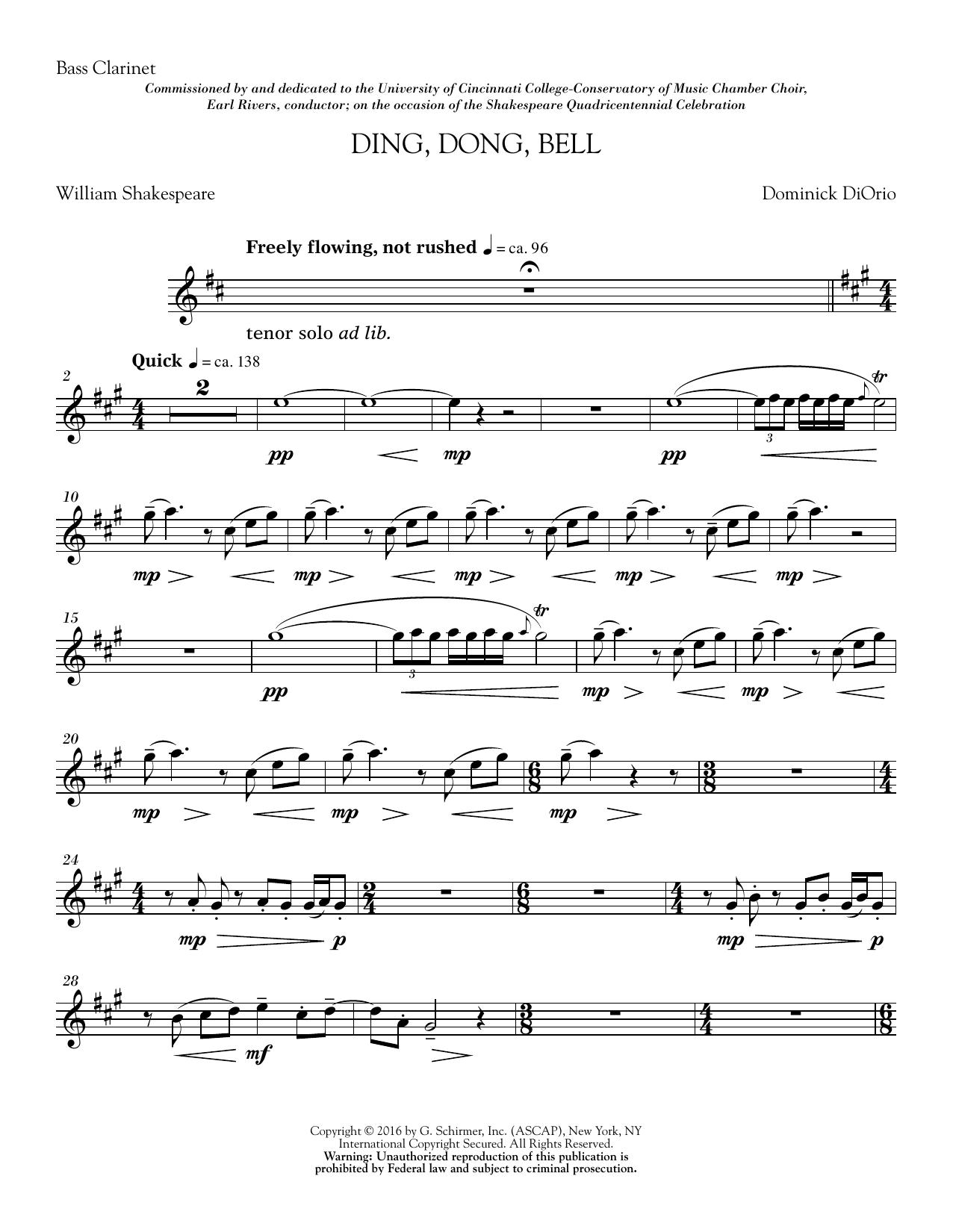 Ding, Dong, Bell - Bass Clarinet in Bb (Choir Instrumental Pak)