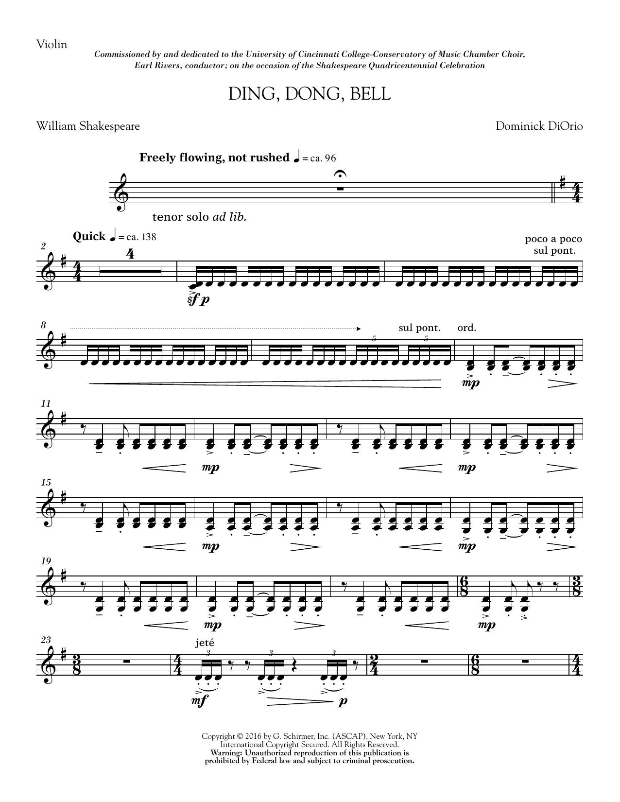 Ding, Dong, Bell - Violin (Choir Instrumental Pak)