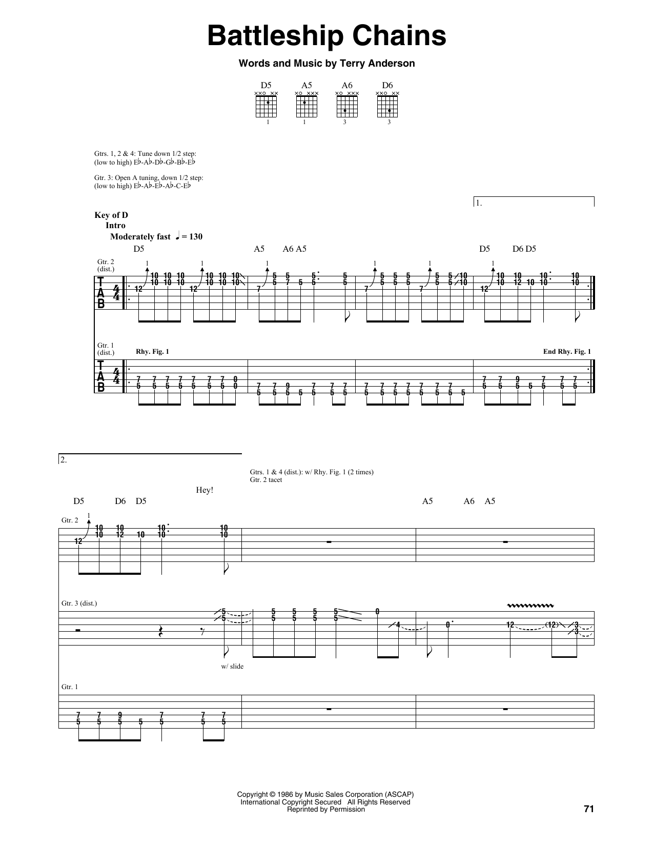 Tablature guitare Battleship Chains de Volbeat - Tablature Guitare