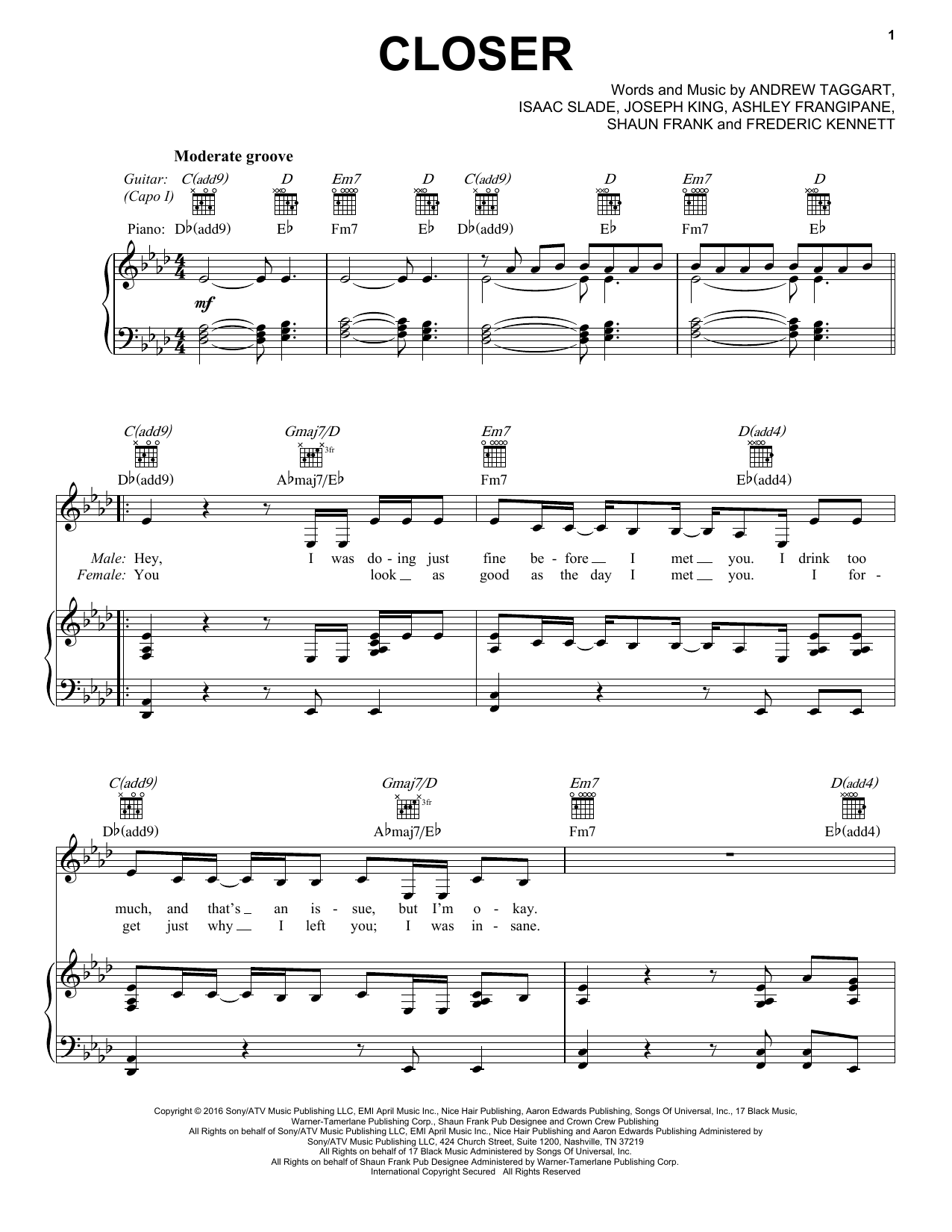 Closer Sheet Music