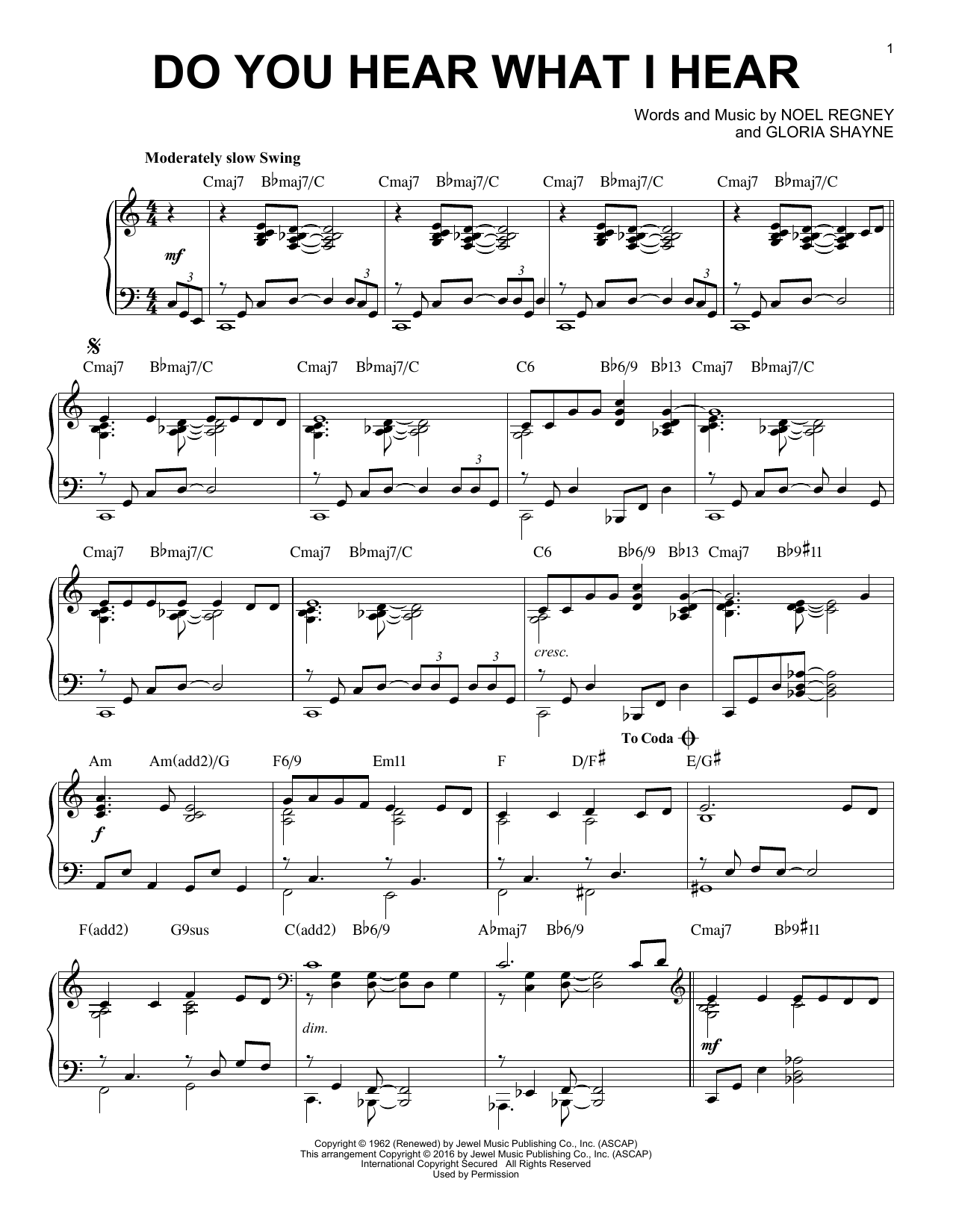 Do You Hear What I Hear [Jazz version] (arr. Brent Edstrom) (Piano Solo)