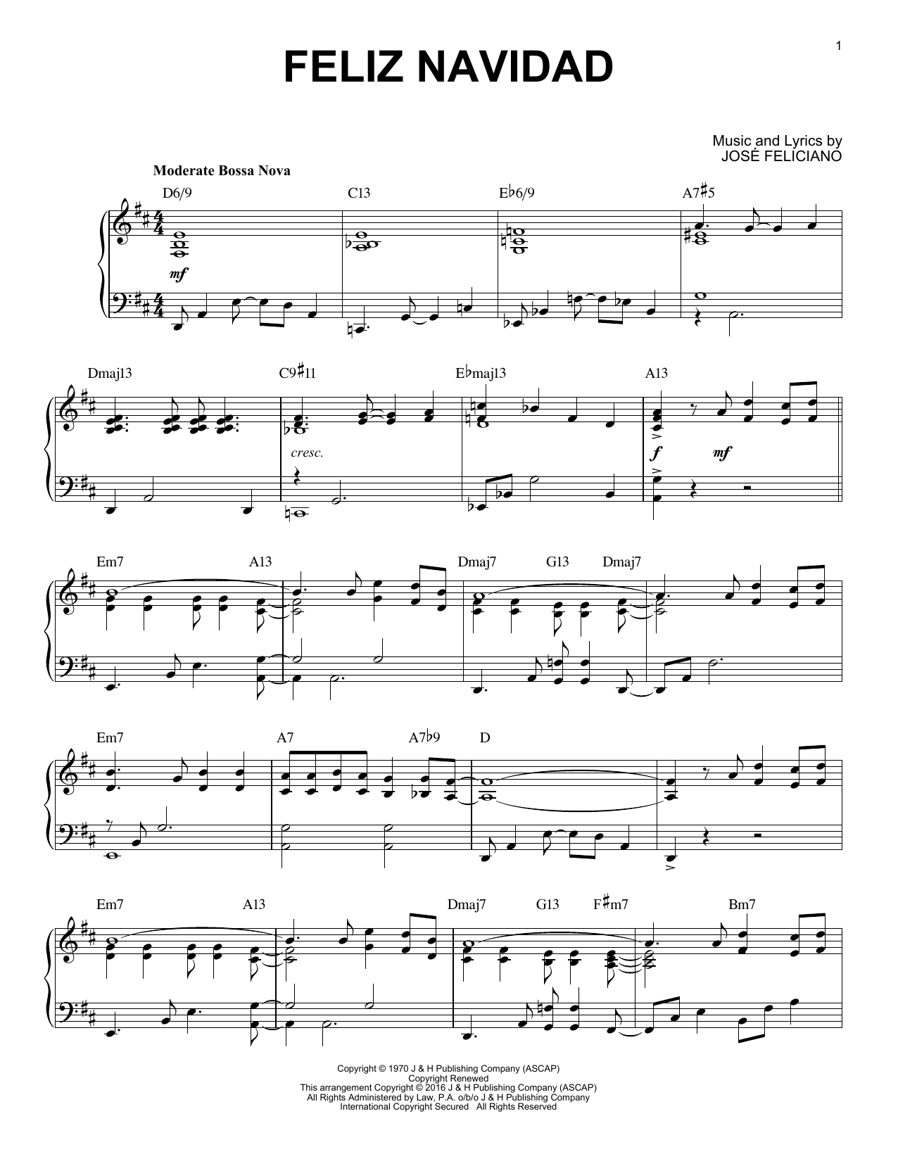Feliz Navidad [Jazz version] (arr. Brent Edstrom) (Piano Solo)