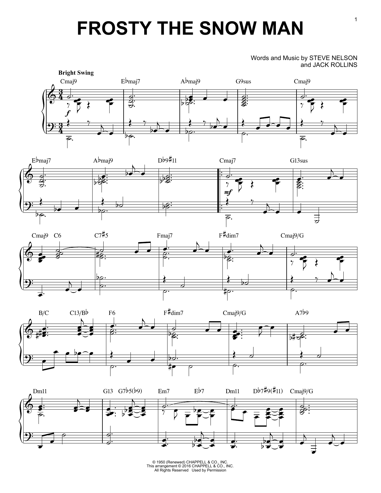Frosty The Snow Man [Jazz version] (arr. Brent Edstrom) (Piano Solo)