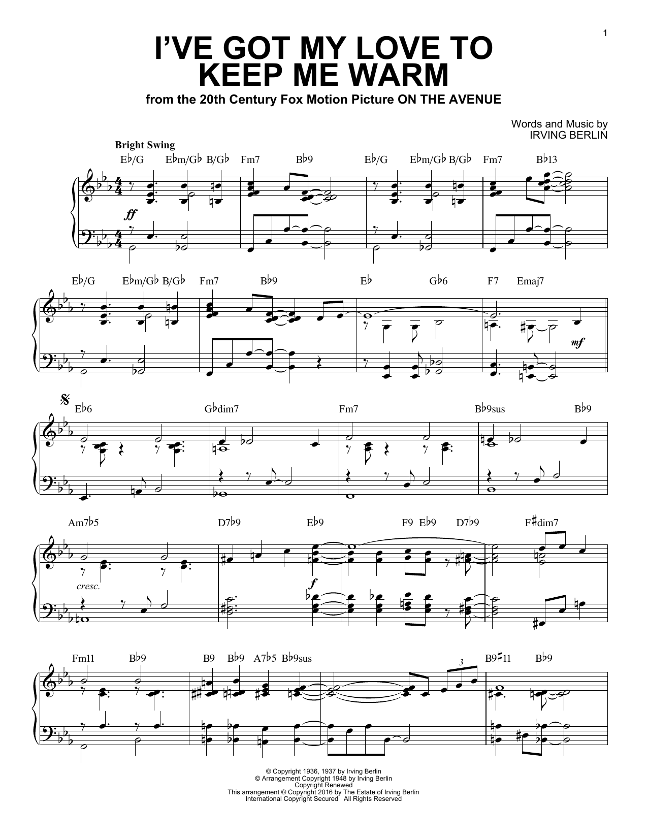 I've Got My Love To Keep Me Warm [Jazz version] (arr. Brent Edstrom) (Piano Solo)