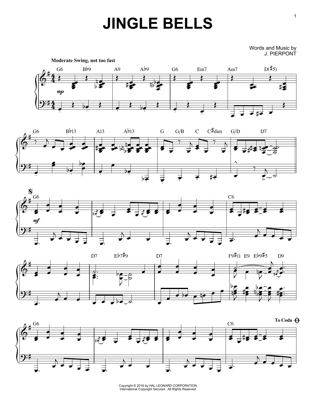 Partition piano Jingle Bells de J. Pierpont - Piano Solo