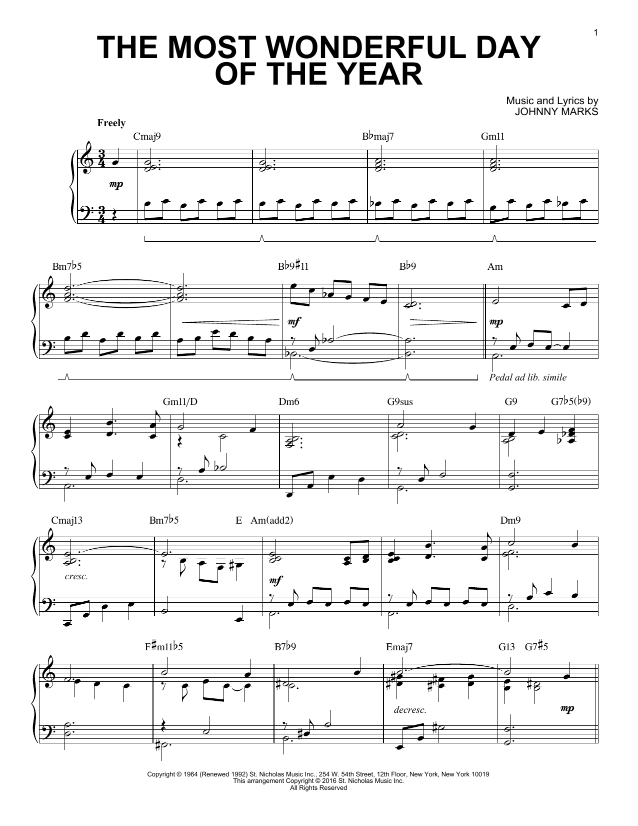 The Most Wonderful Day Of The Year [Jazz version] (arr. Brent Edstrom) (Piano Solo)