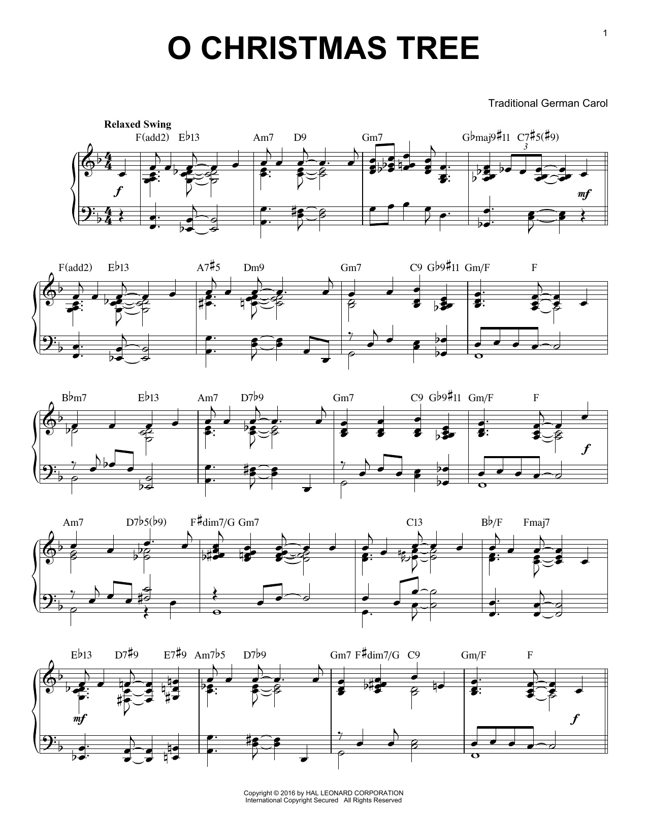 O Christmas Tree [Jazz version] (arr. Brent Edstrom) (Piano Solo)