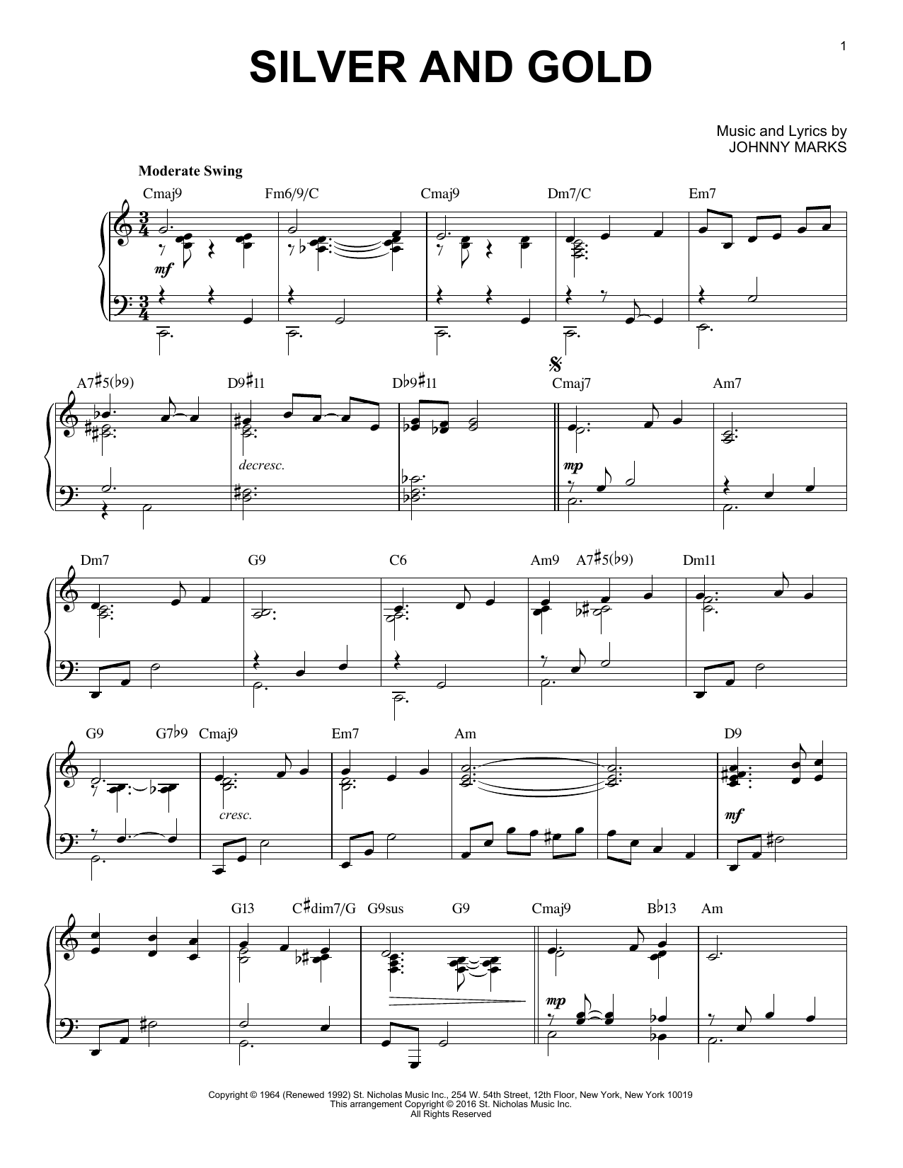 Silver And Gold [Jazz version] (arr. Brent Edstrom) (Piano Solo)