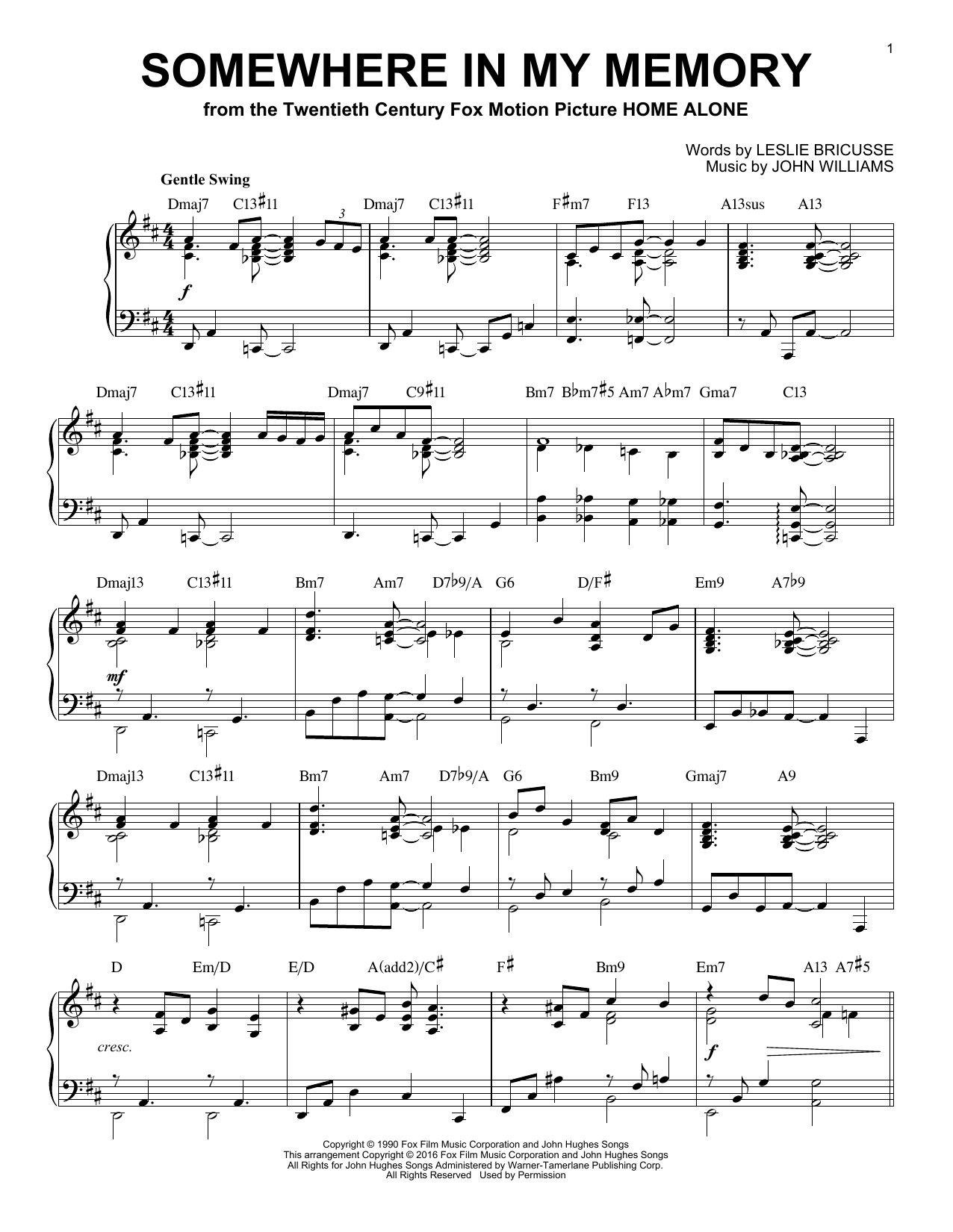 Somewhere In My Memory [Jazz version] (from Home Alone) (arr. Brent Edstrom) (Piano Solo)