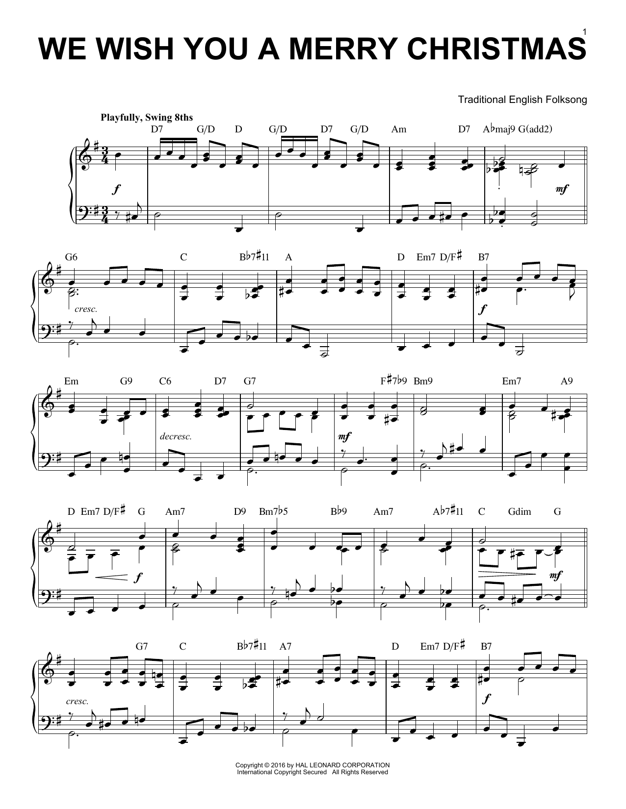 We Wish You A Merry Christmas [Jazz version] (arr. Brent Edstrom) (Piano Solo)
