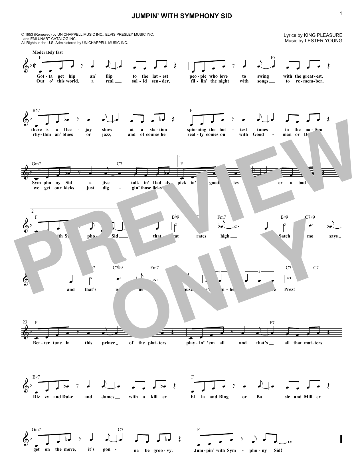 Jumpin' With Symphony Sid Sheet Music