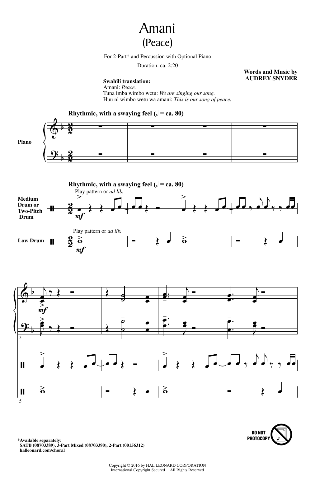 Amani (Peace) Sheet Music