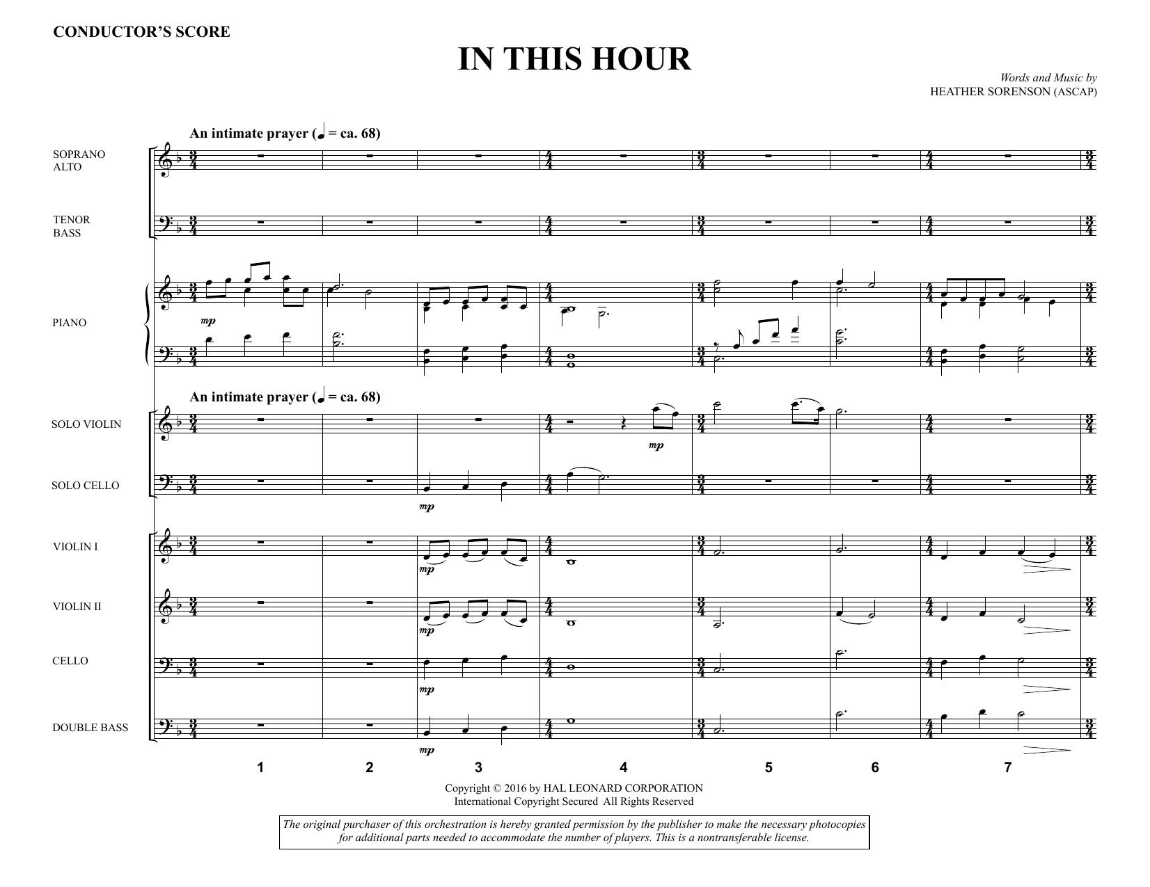 In This Hour - Full Score Sheet Music