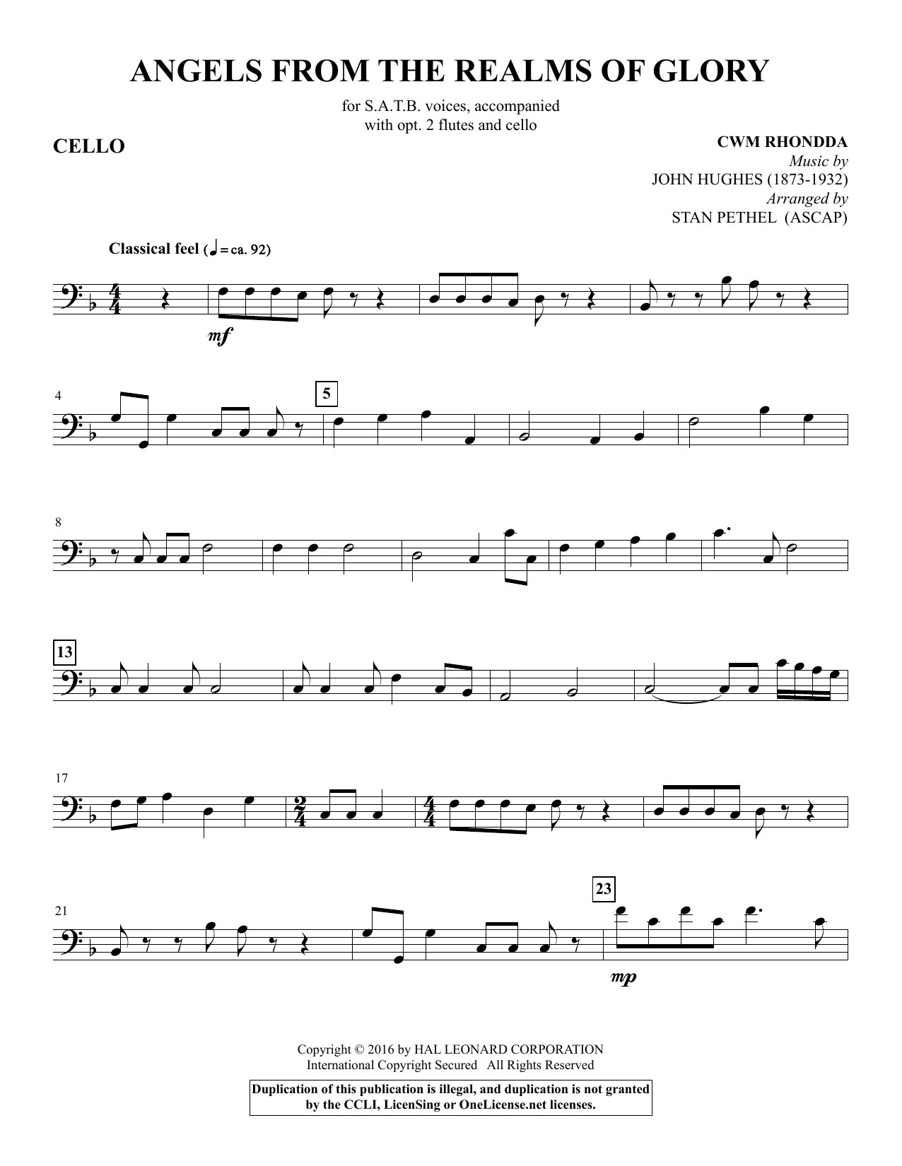 Angels from the Realms of Glory - Cello Sheet Music