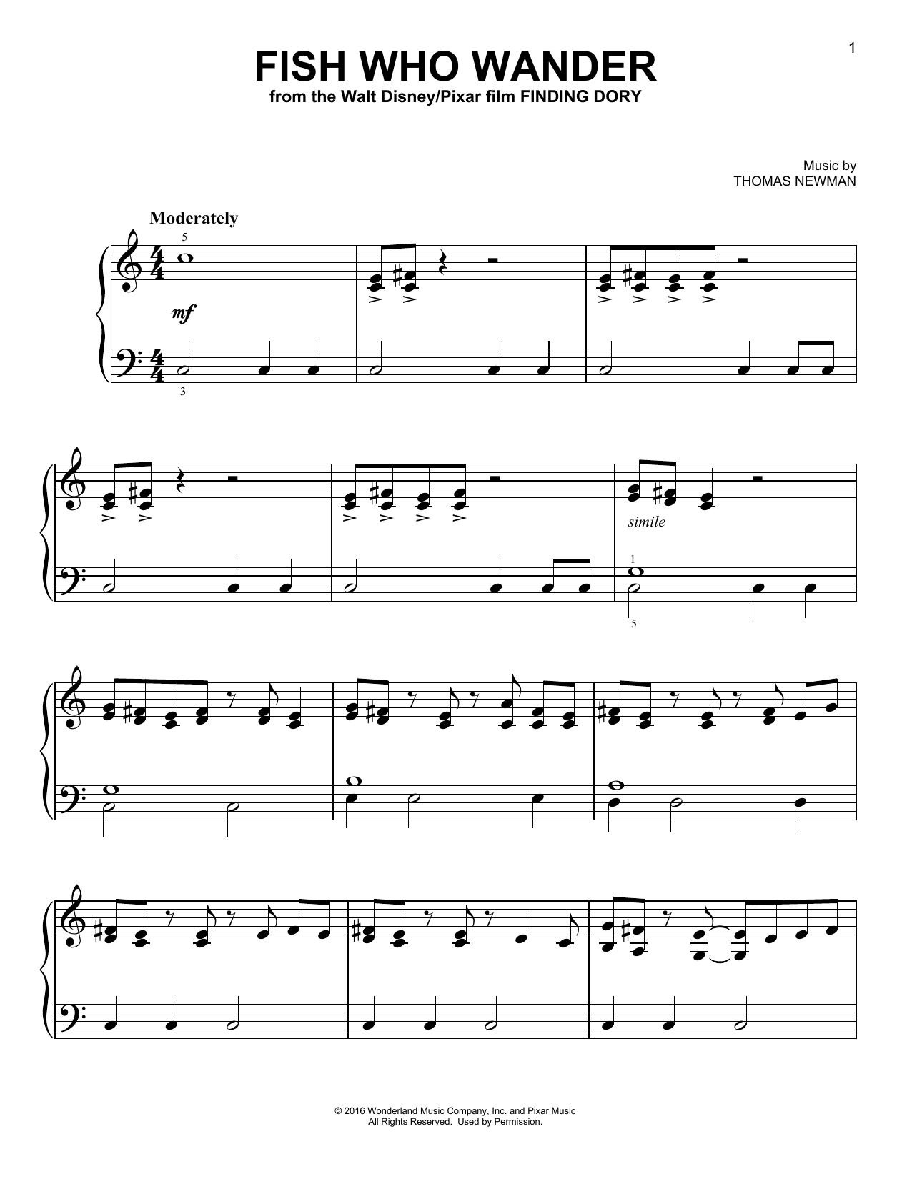 Partition piano Fish Who Wander de Thomas Newman - Piano Facile