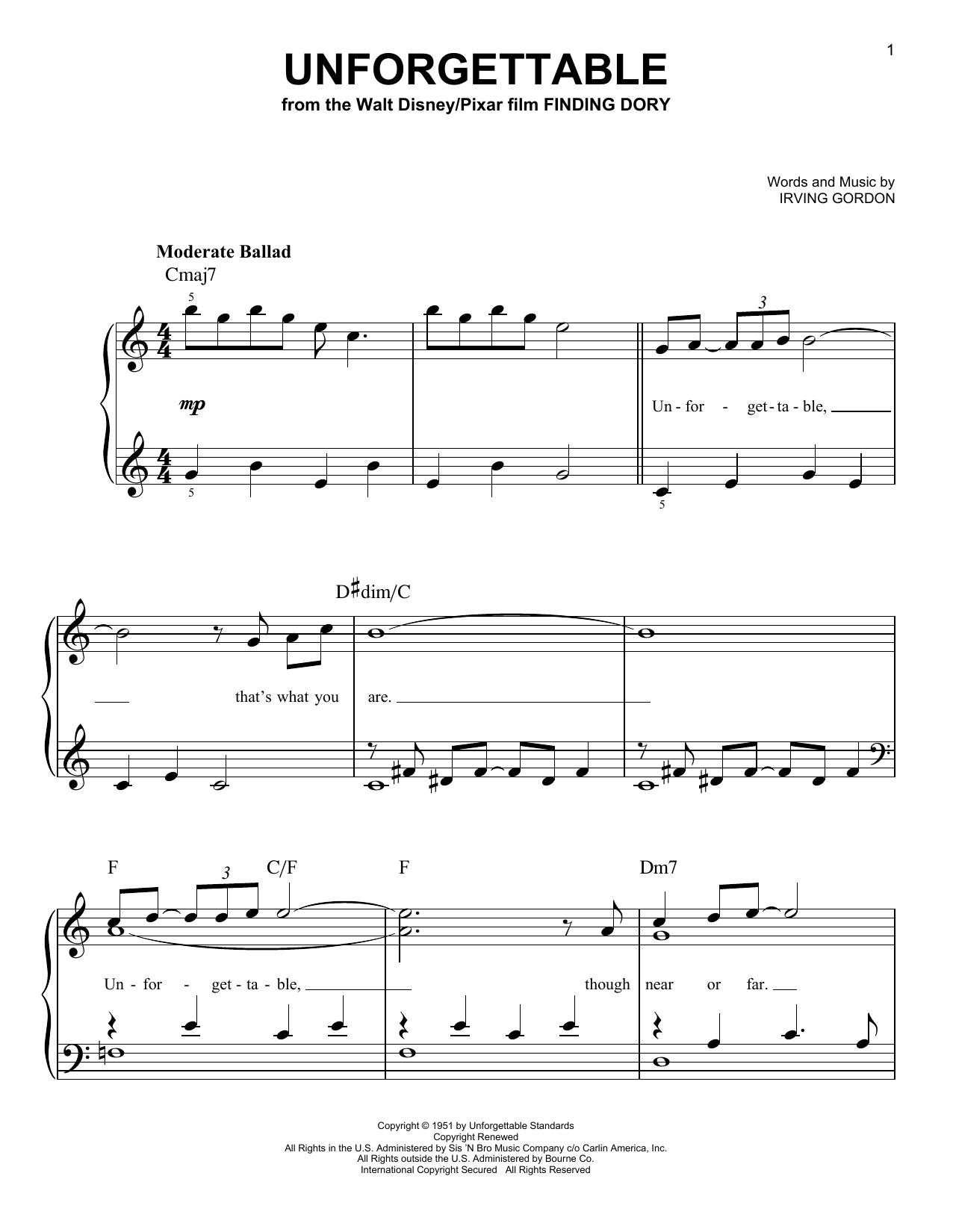 Unforgettable (Easy Piano)