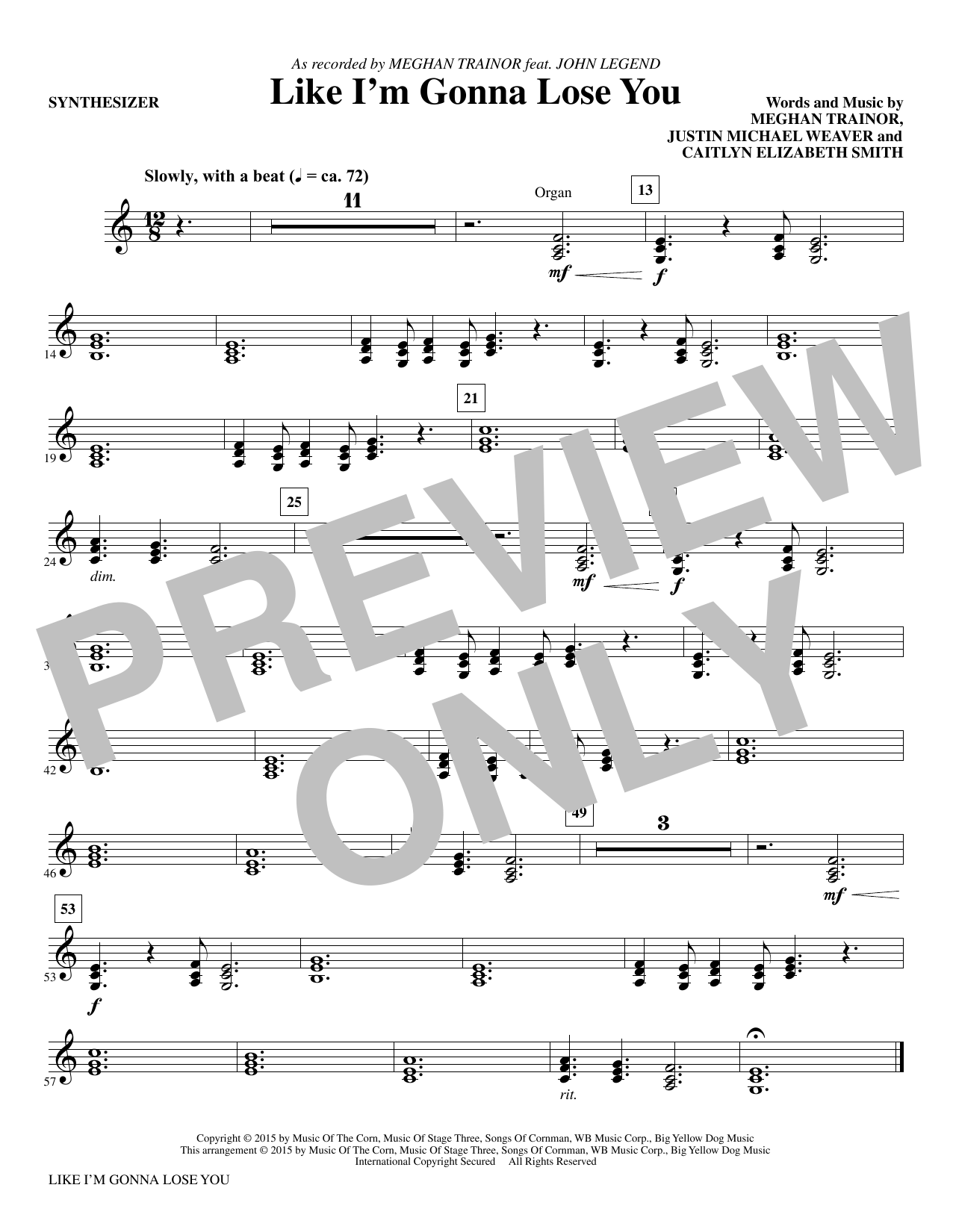 Like I'm Gonna Lose You (complete set of parts) sheet music for orchestra/band by Mac Huff, Justin Weaver and Meghan Trainor. Score Image Preview.