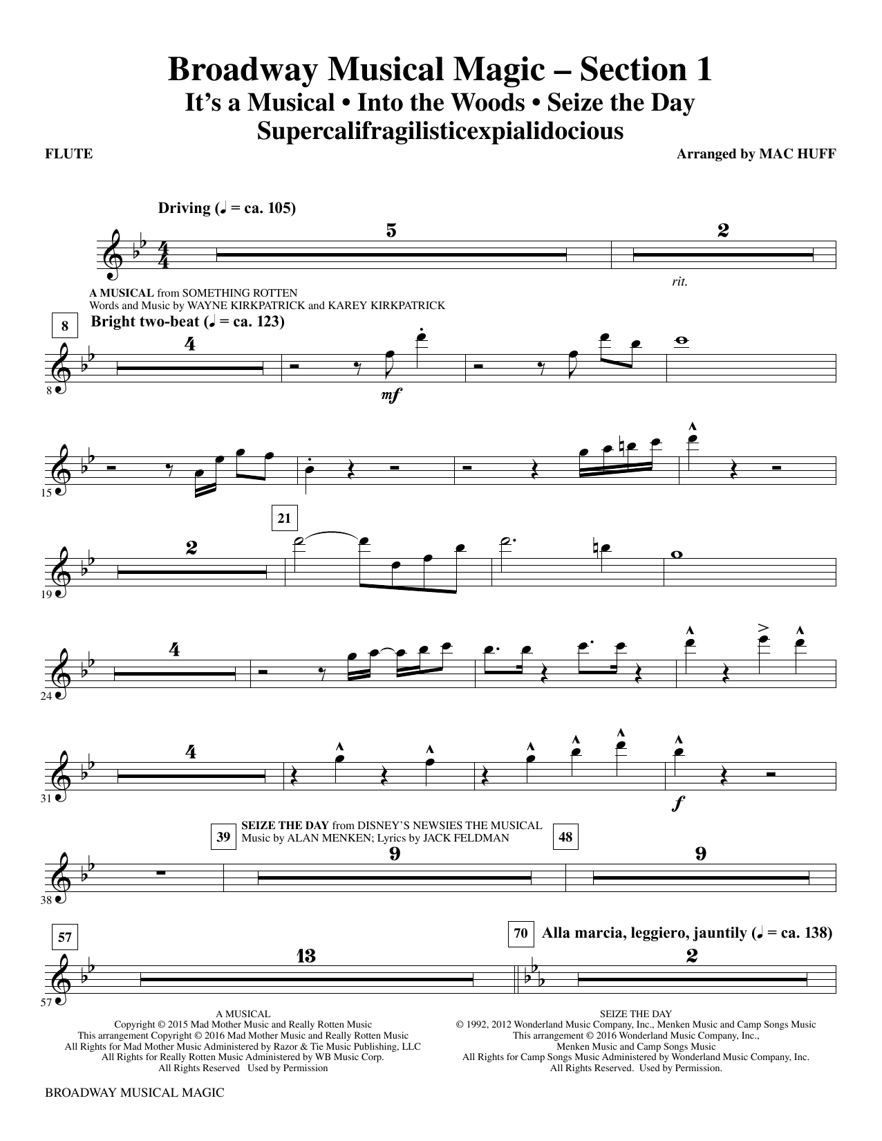 Broadway Musical Magic (complete set of parts) sheet music for orchestra/band by Mac Huff and Jonathan Larson. Score Image Preview.