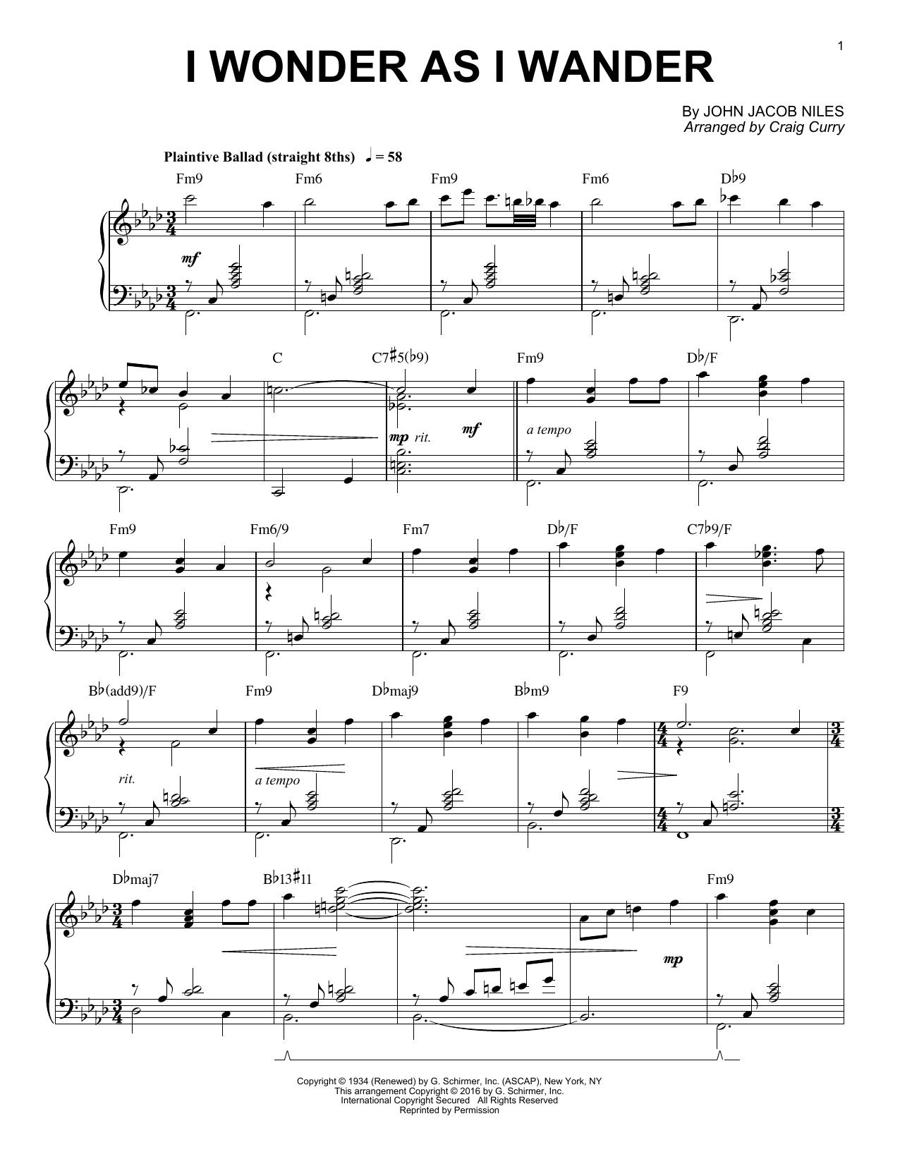 I Wonder As I Wander (Piano Solo)