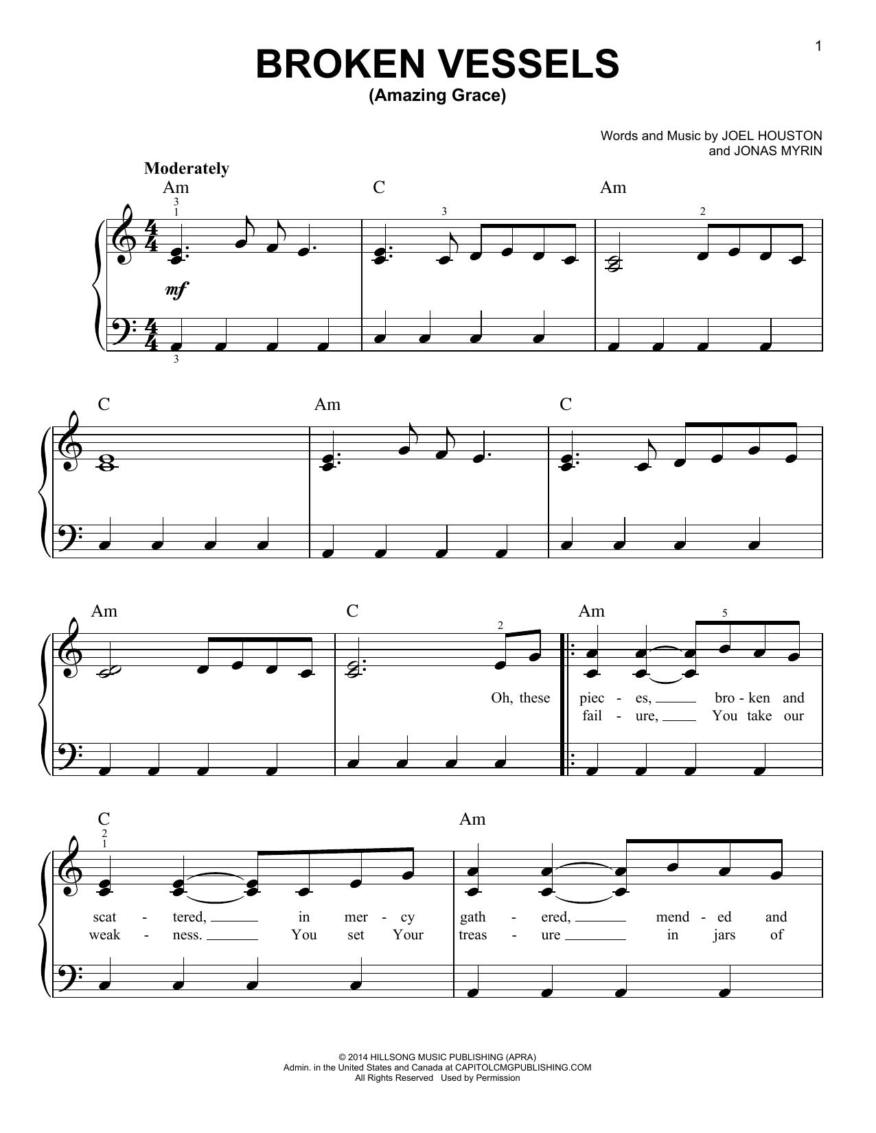 Partition piano Broken Vessels (Amazing Grace) de Joel Houston - Piano Facile