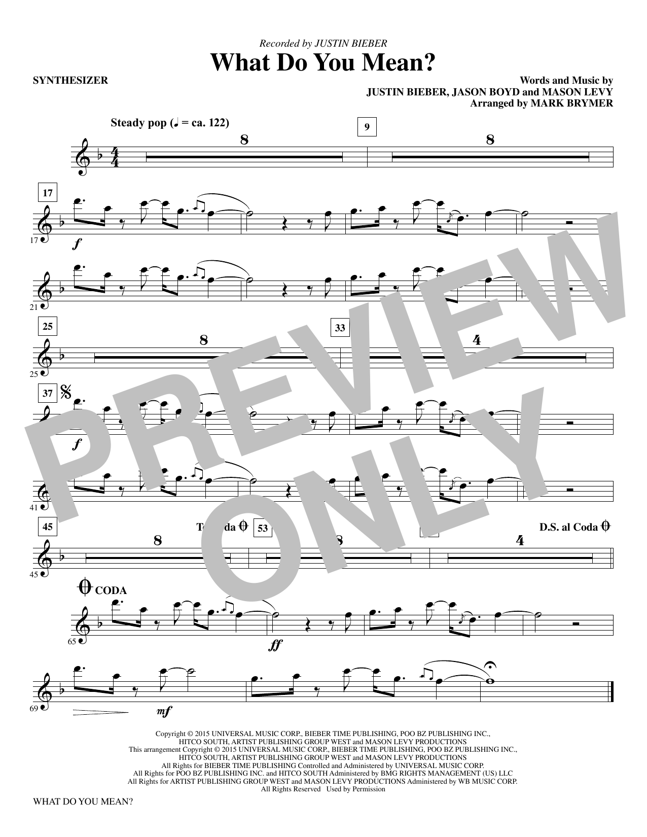 What Do You Mean? (complete set of parts) sheet music for orchestra/band by Mason Levy, Jason Boyd, Justin Bieber and Mark Brymer. Score Image Preview.