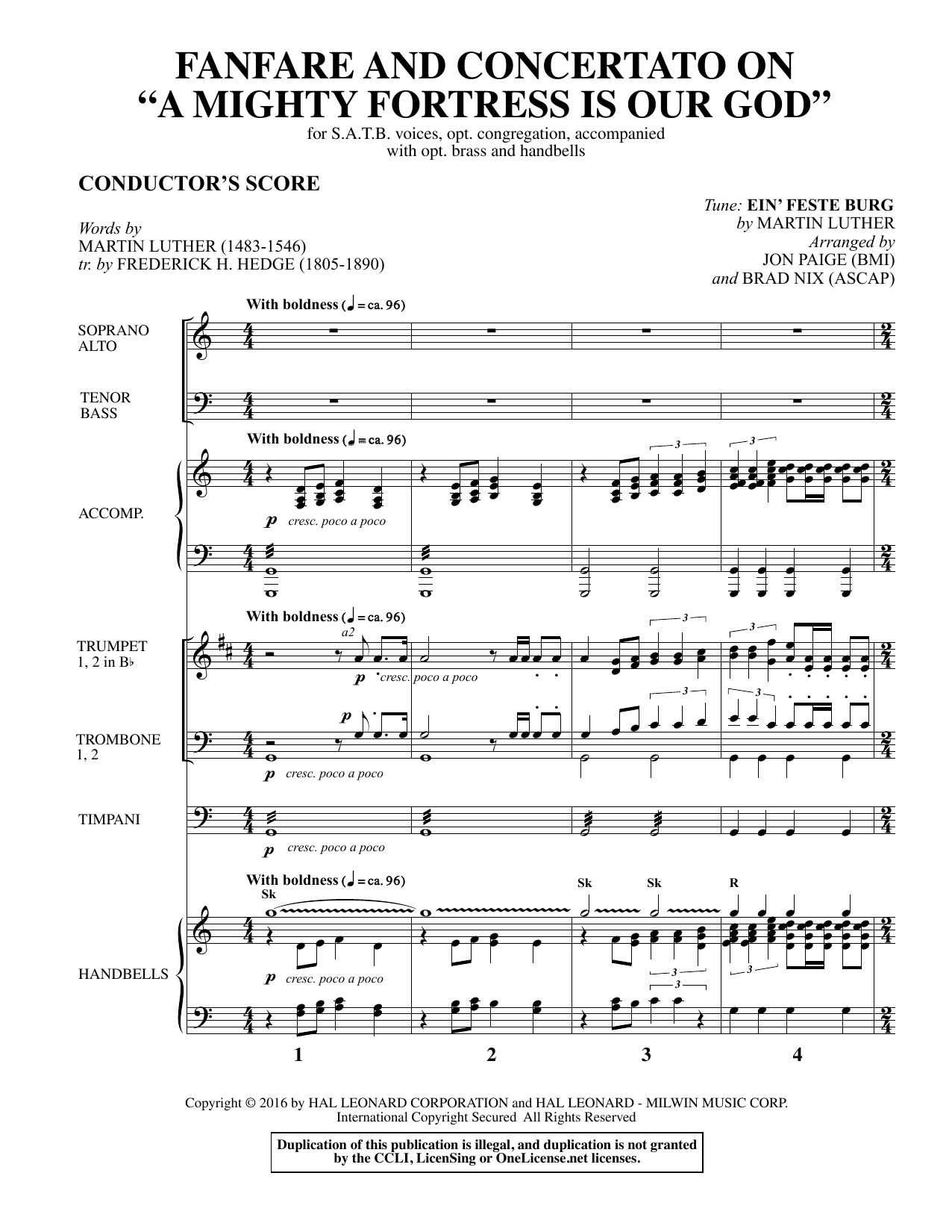 Fanfare and Concertato on A Mighty Fortress Is Our God (COMPLETE) sheet music for orchestra/band , Brad Nix, Frederick H. Hedge, Jon Paige and Martin Luther. Score Image Preview.