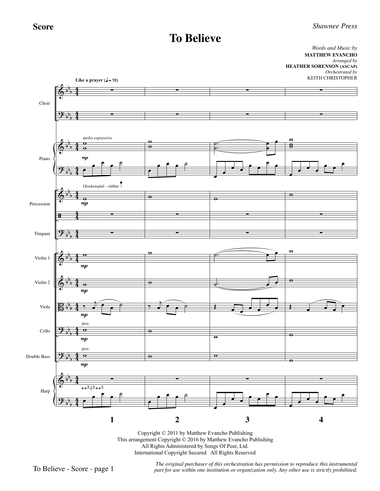 To Believe (COMPLETE) sheet music for orchestra/band by Heather Sorenson, Jackie Evancho and Matthew Evancho. Score Image Preview.