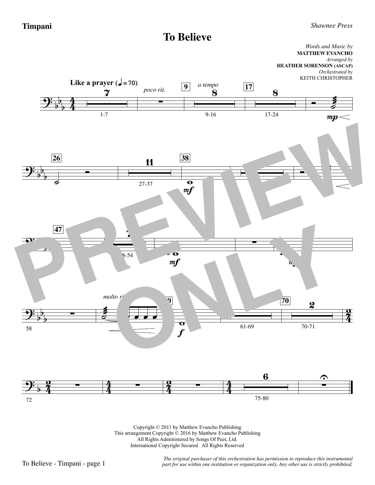 To Believe - Timpani (Choir Instrumental Pak)