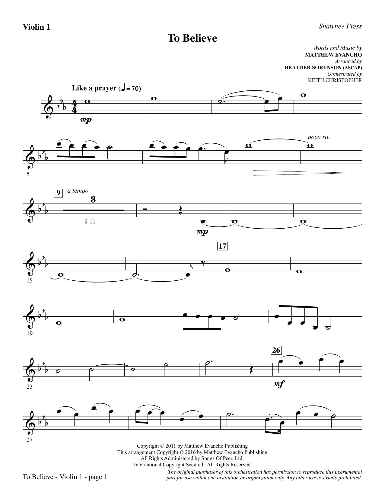 To Believe - Violin 1 (Choir Instrumental Pak)