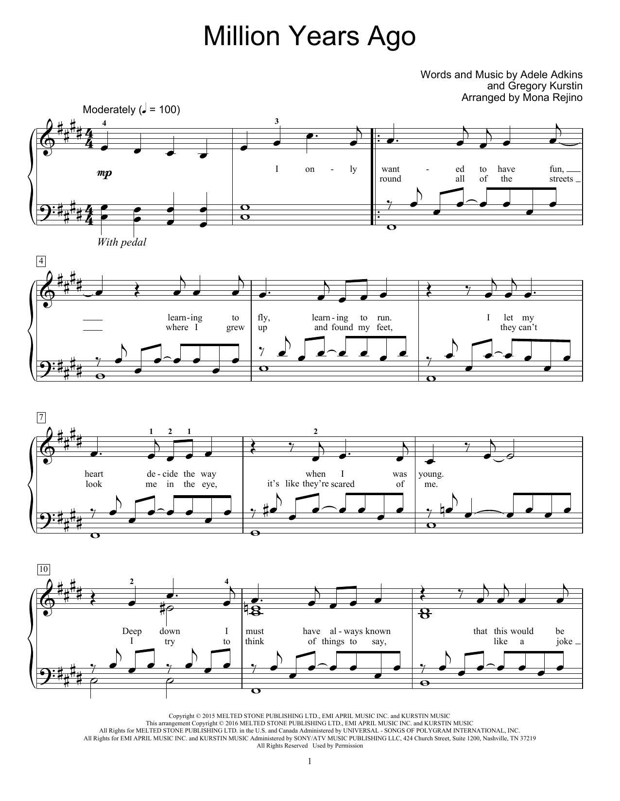 Million Years Ago Sheet Music