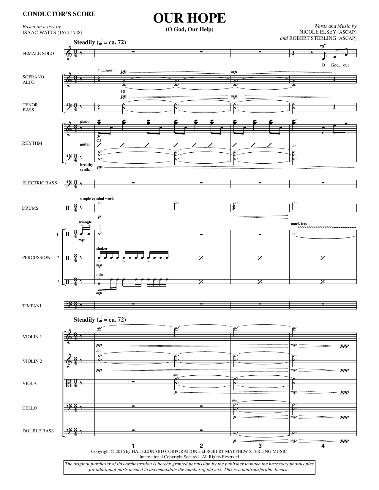 Our Hope (COMPLETE) sheet music for orchestra/band by Nicole Elsey, Isaac Watts and Robert Sterling. Score Image Preview.