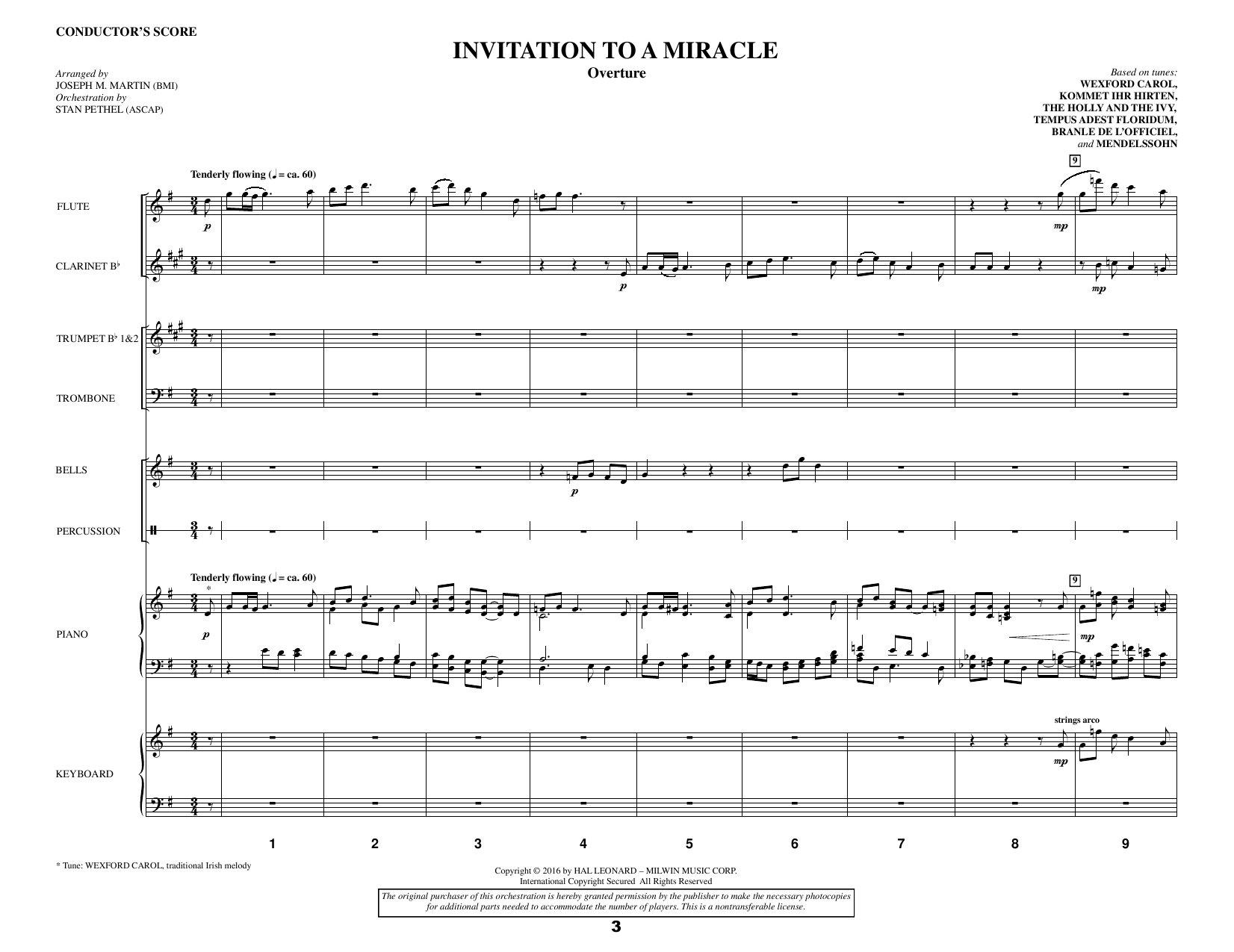 Invitation to a Miracle (COMPLETE) sheet music for orchestra/band by Douglas Nolan, Joseph M. Martin and Pamela Stewart. Score Image Preview.