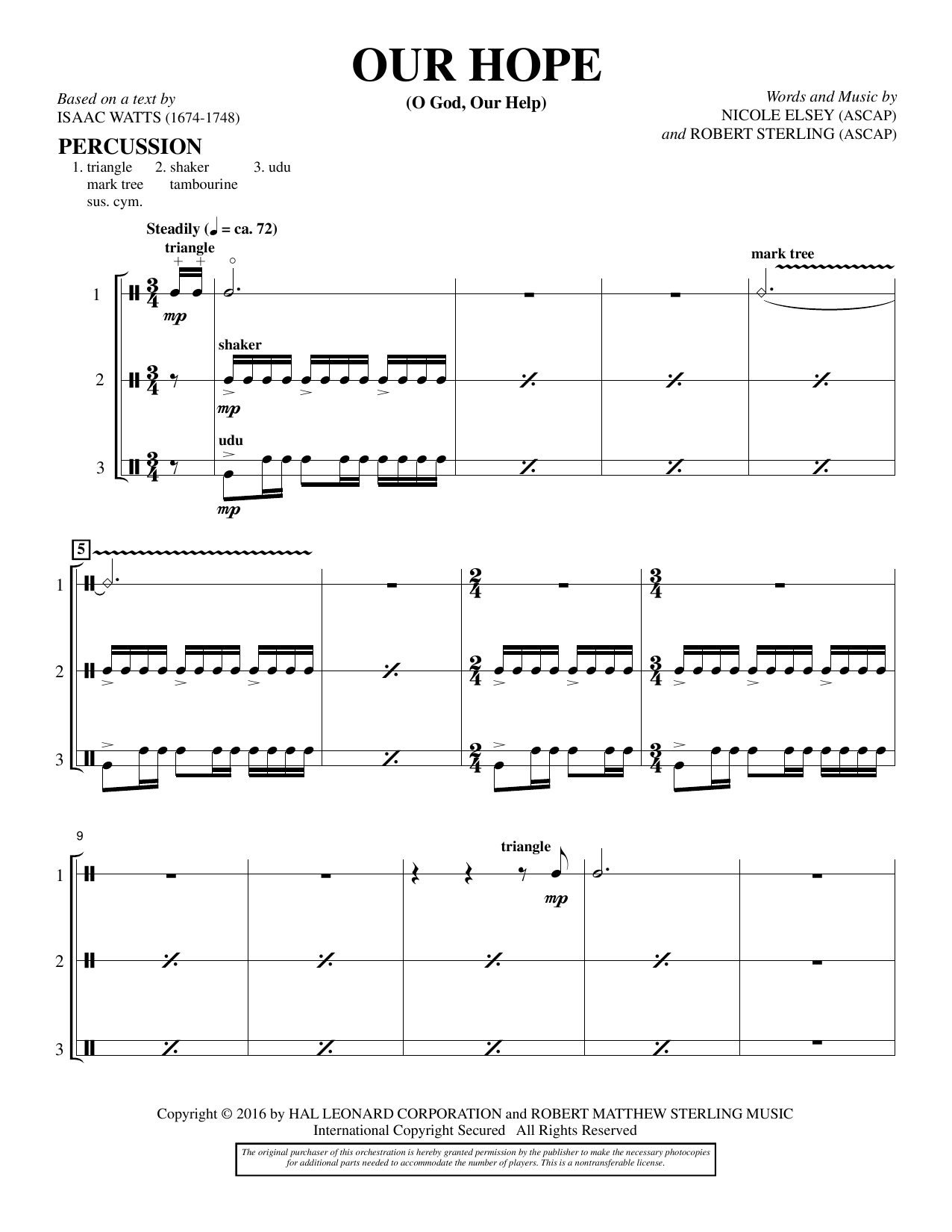 Our Hope - Percussion Sheet Music