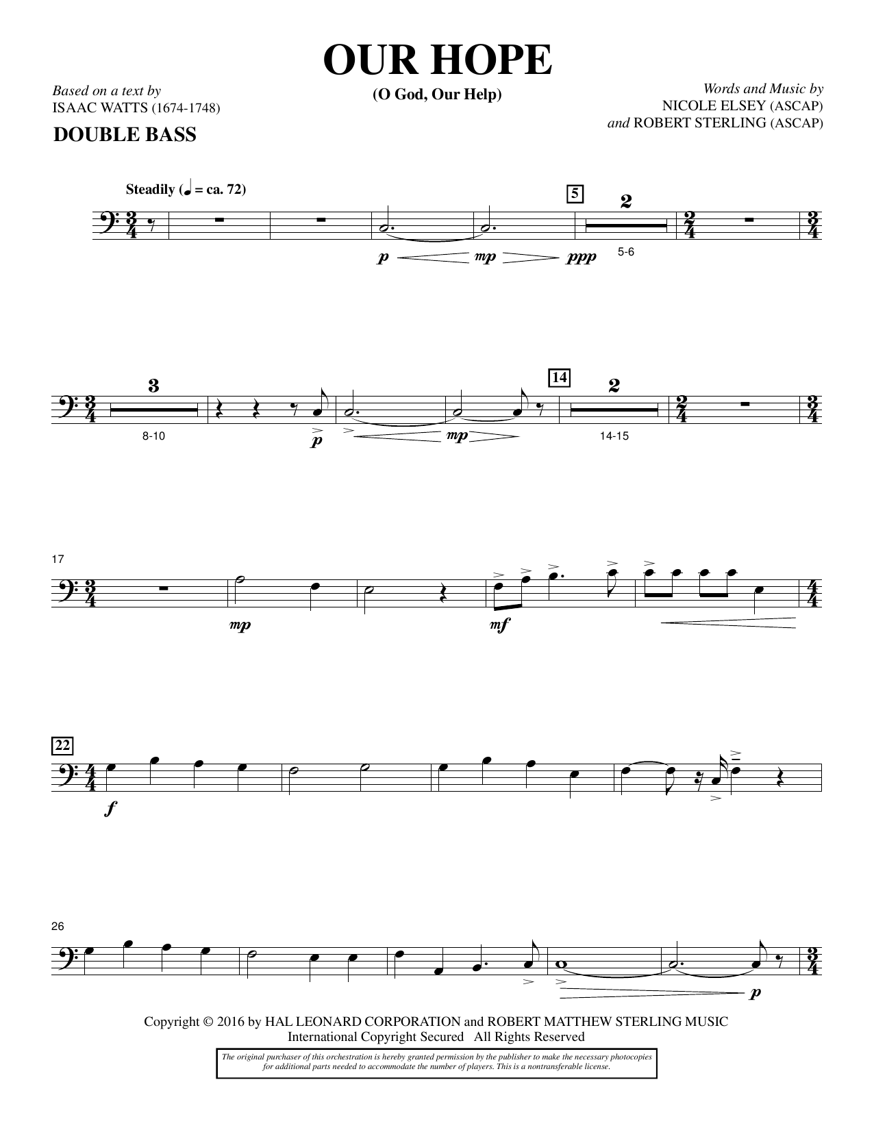 Our Hope - Double Bass Sheet Music