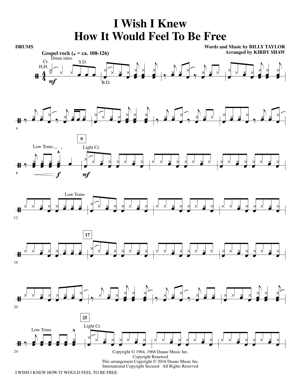 I Wish I Knew How It Would Feel to be Free - Drums by Kirby Shaw Choir  Instrumental Pak Digital Sheet Music