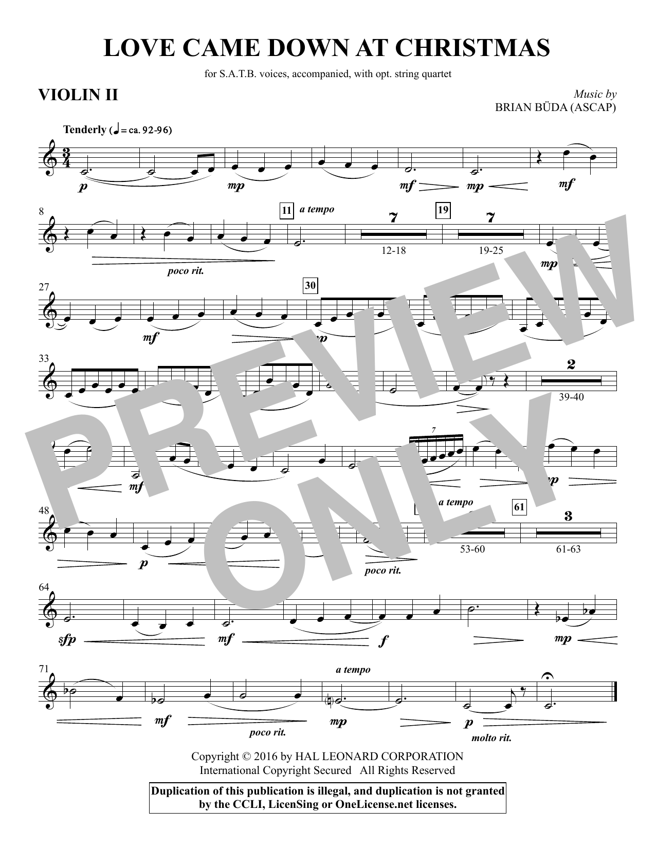 Love Came Down at Christmas - Violin 2 (Choir Instrumental Pak)
