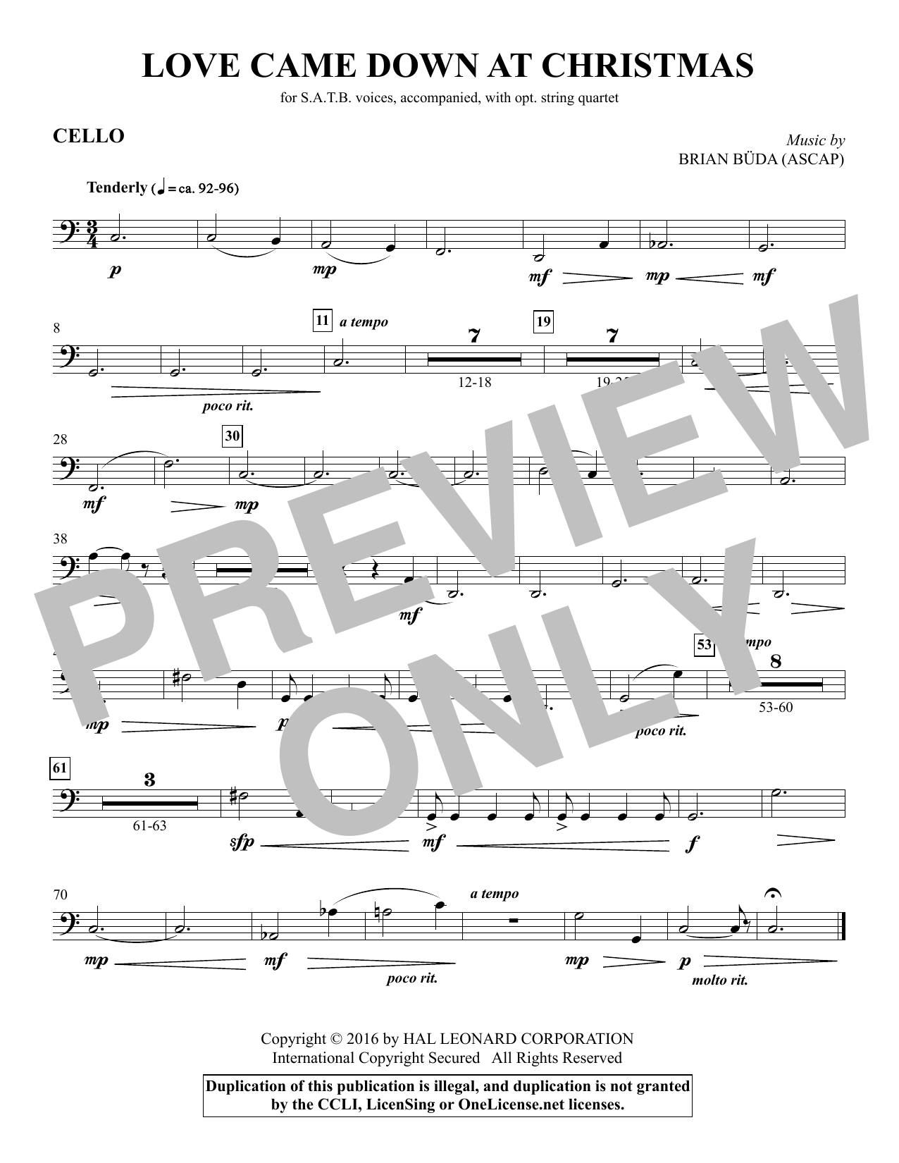 Love Came Down at Christmas - Cello Sheet Music