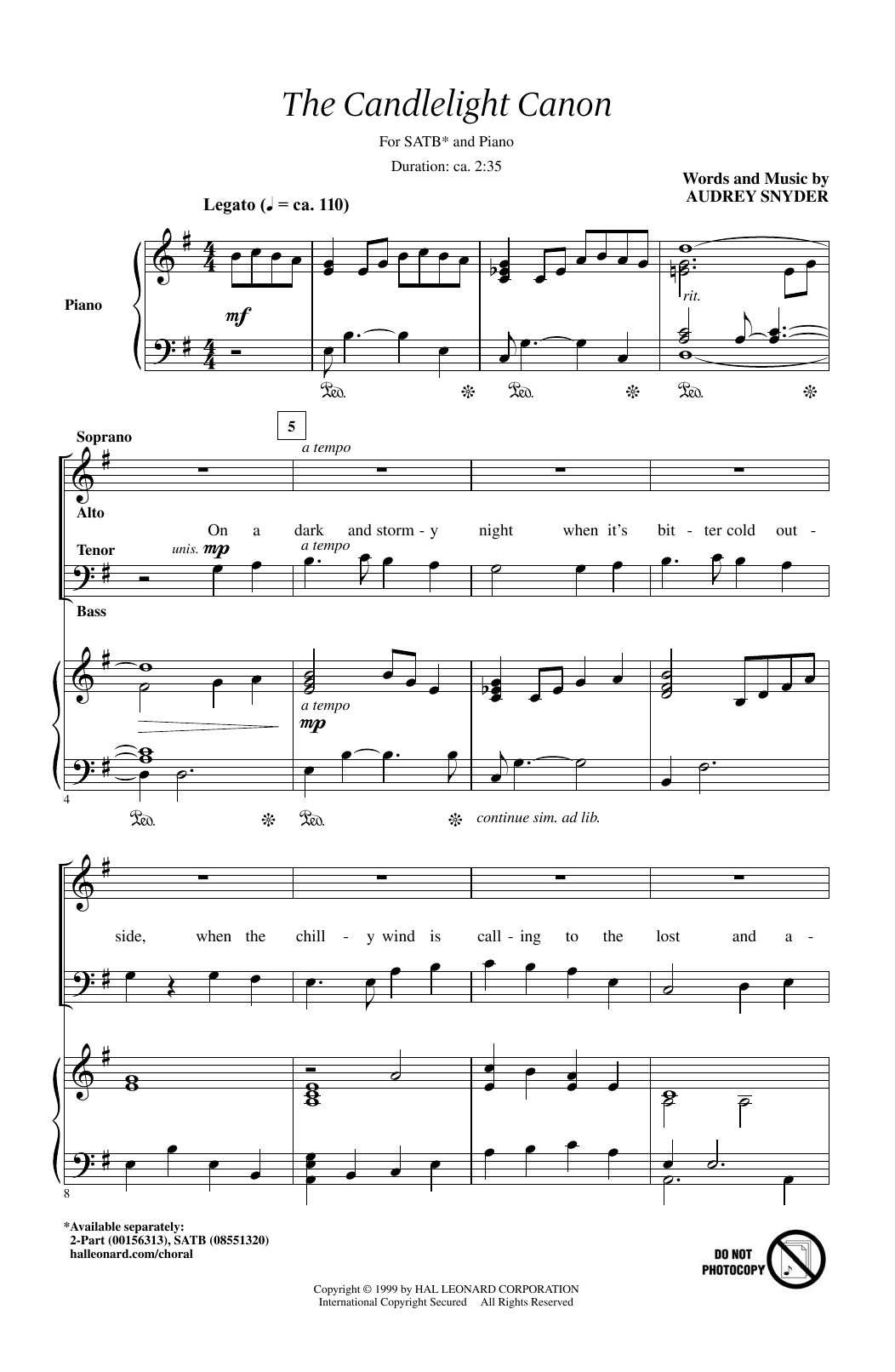 Partition chorale The Candlelight Canon de Audrey Snyder - SATB