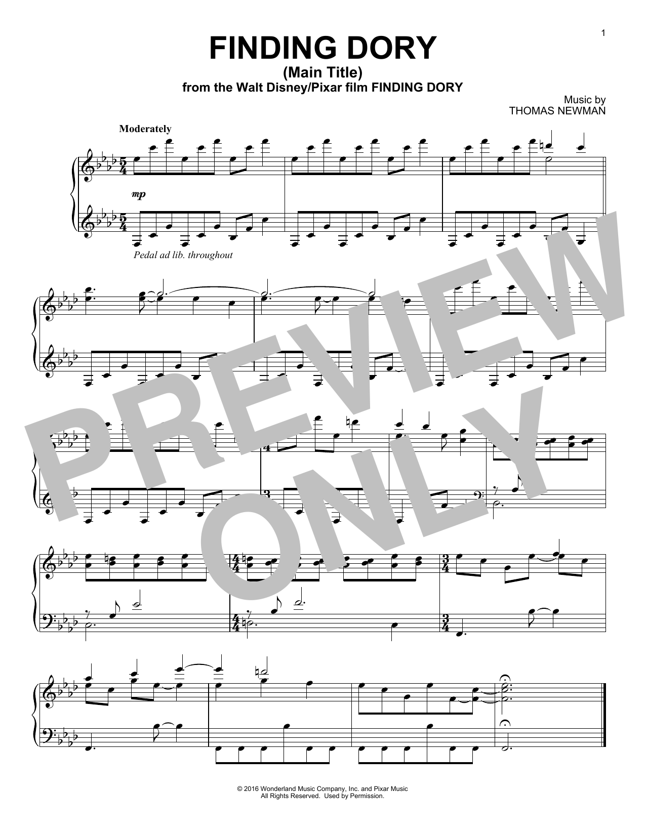 Finding Dory (Main Title) Sheet Music