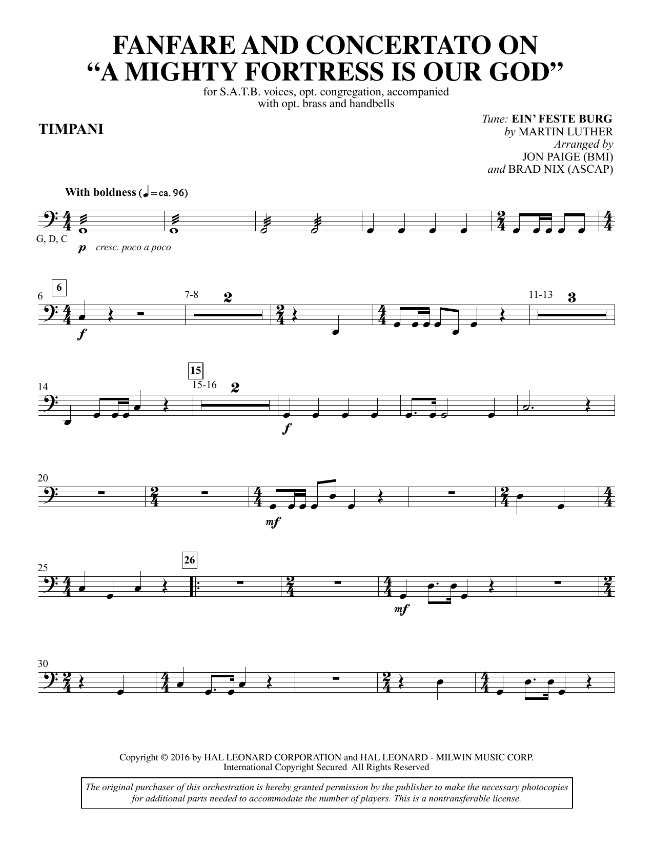 Fanfare and Concertato on A Mighty Fortress Is Our God - Timpani Sheet Music