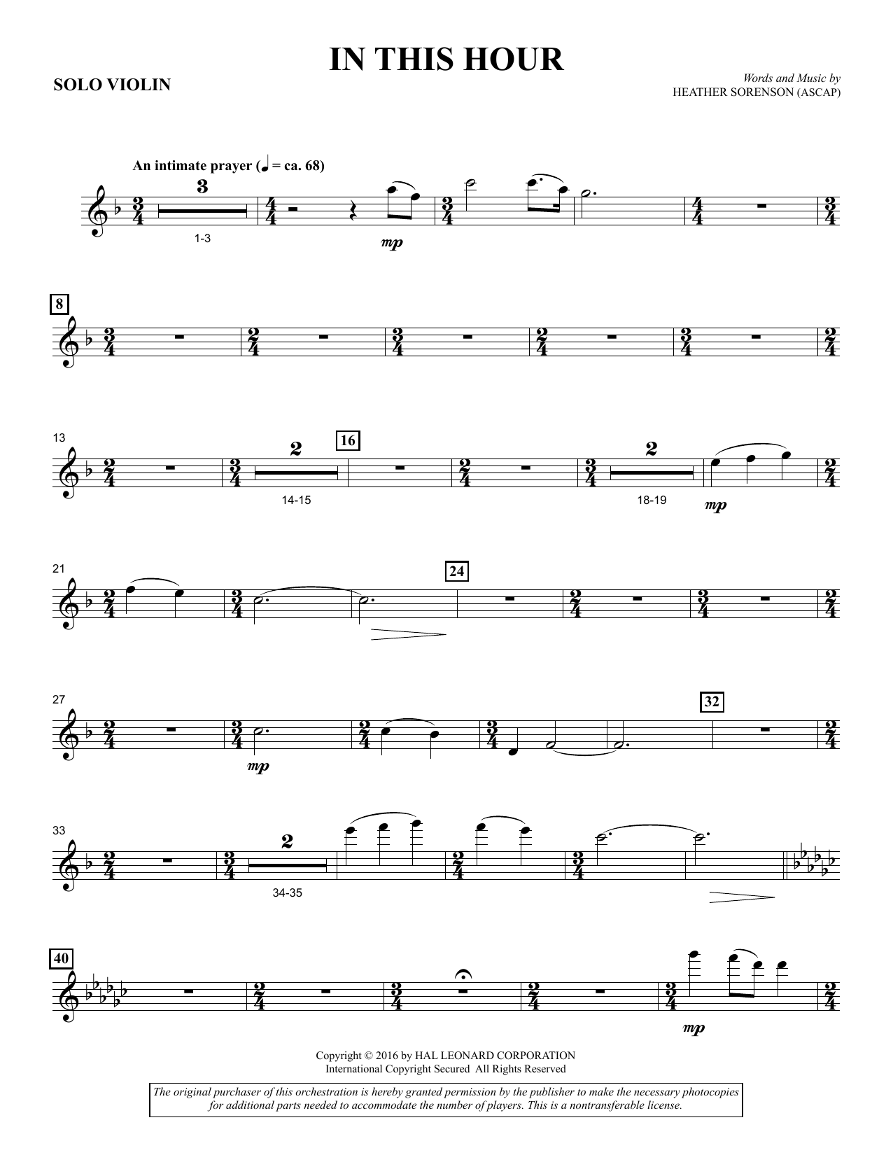 In This Hour - Solo Violin Sheet Music