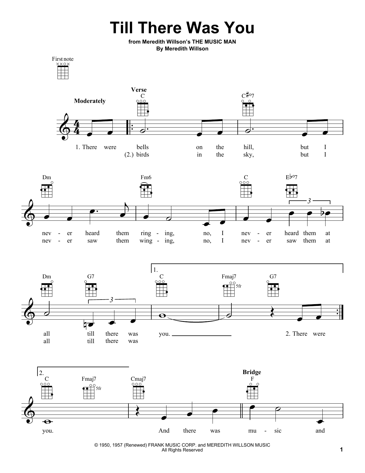 Tablature guitare Till There Was You de The Beatles - Ukulele